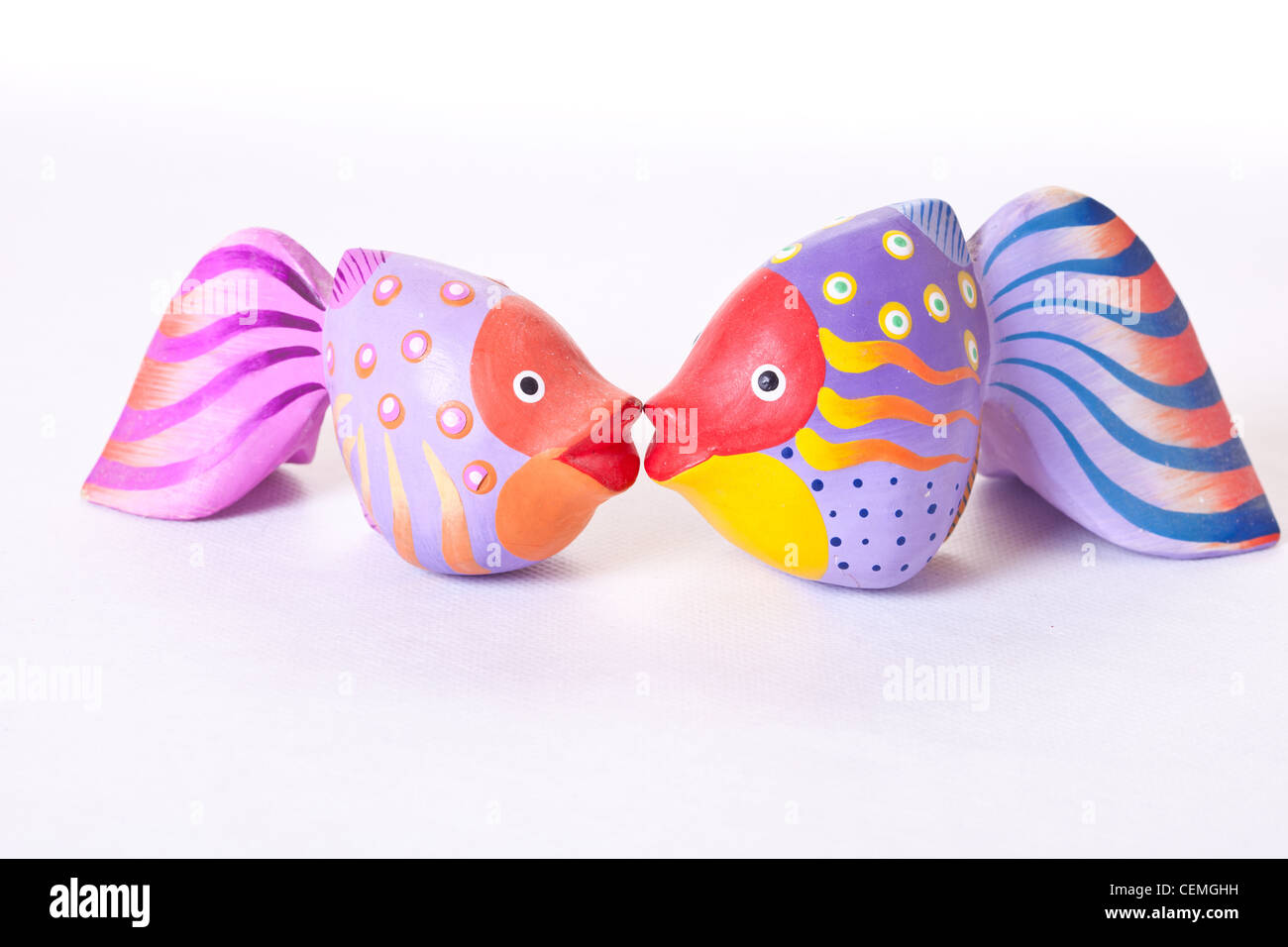 Kissing fish ornament - Wooden Brightly Coloured Fish Ornaments Kissing Fish Pouting Fish Purple Fish Pink Fish