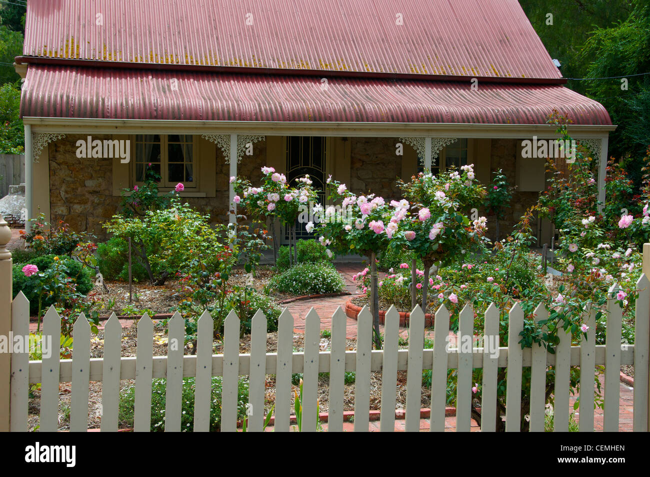 Cottage and rose garden in Yankalilla South Australia Stock Photo
