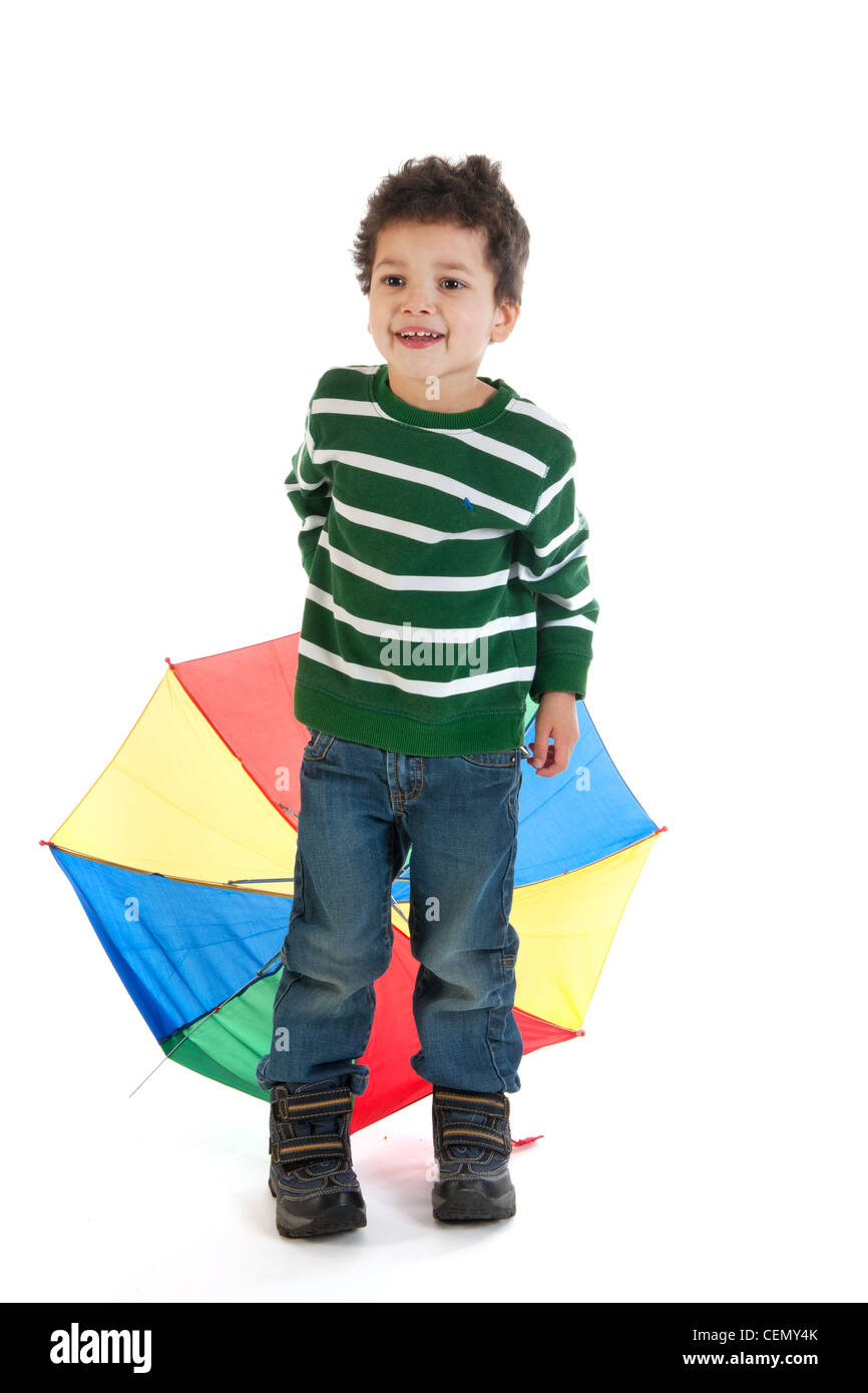 little boy child with colorful umbrella stock photo royalty free