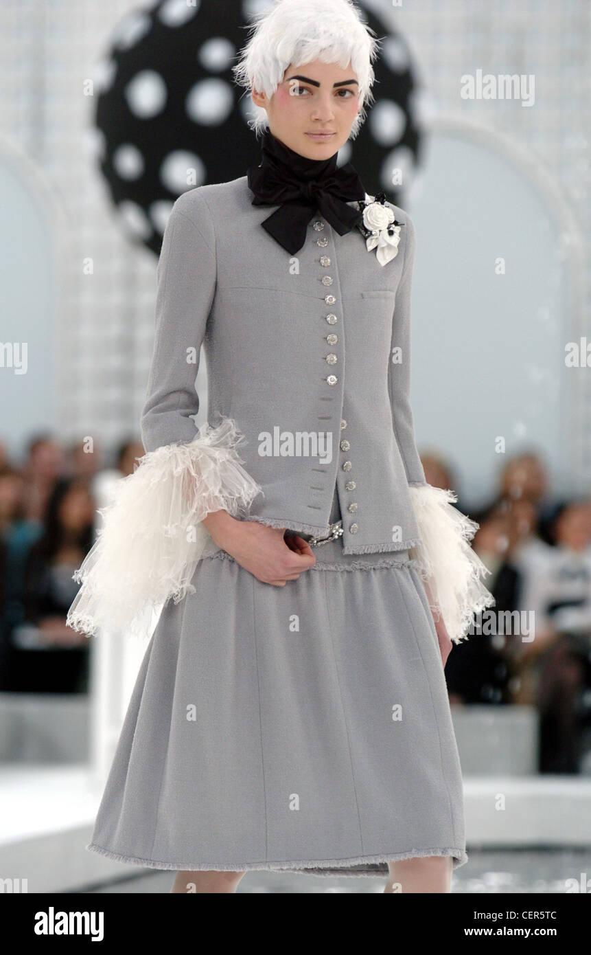 Chanel paris haute couture spring summer grey skirt suit for Haute couture suits