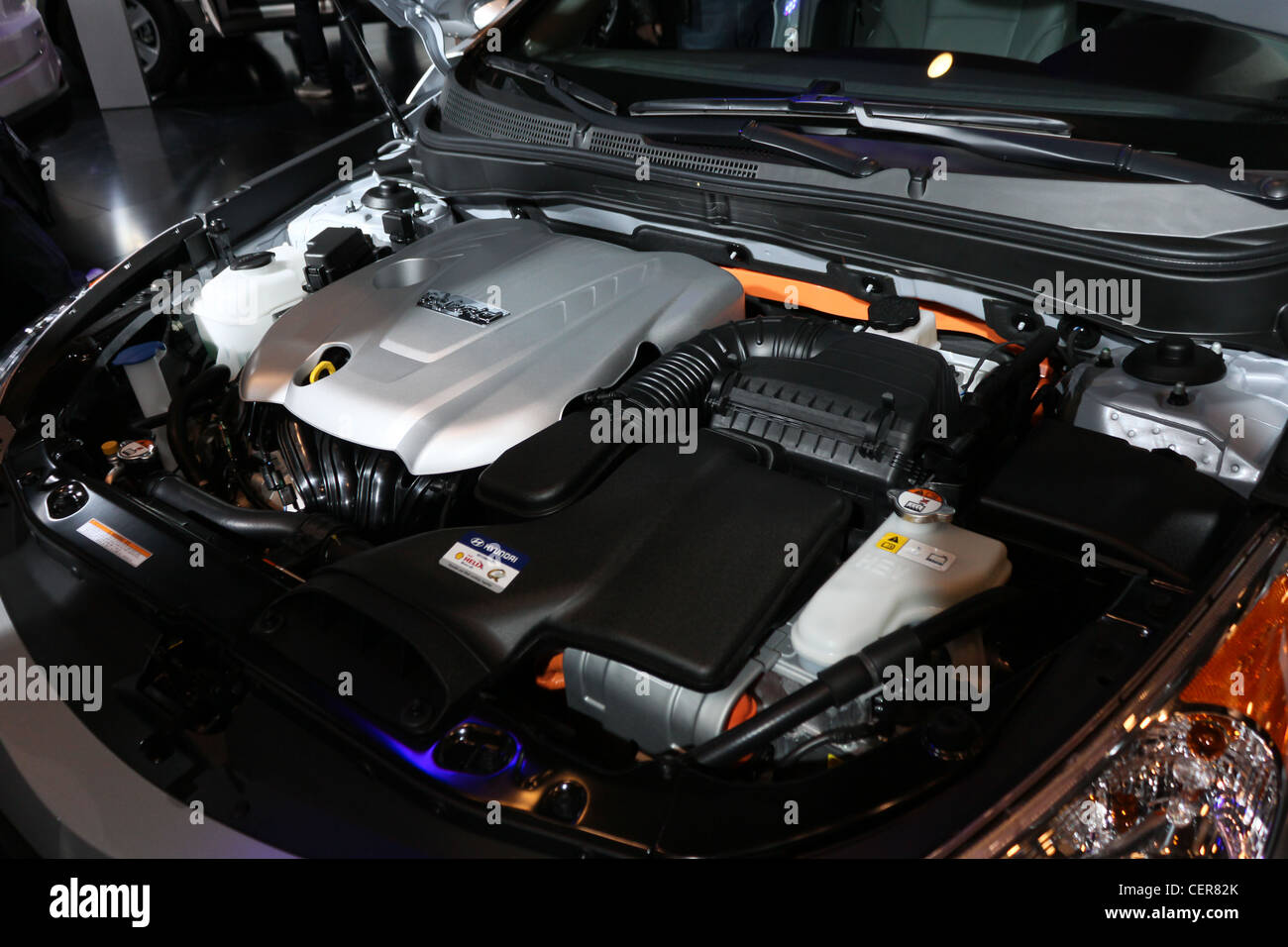 car hood up engine compartment - Stock Image