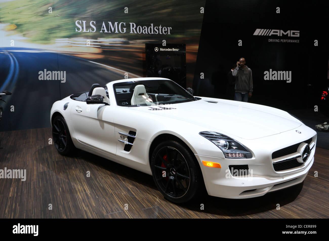 white convertible car mercedes benz sls amg roadster stock