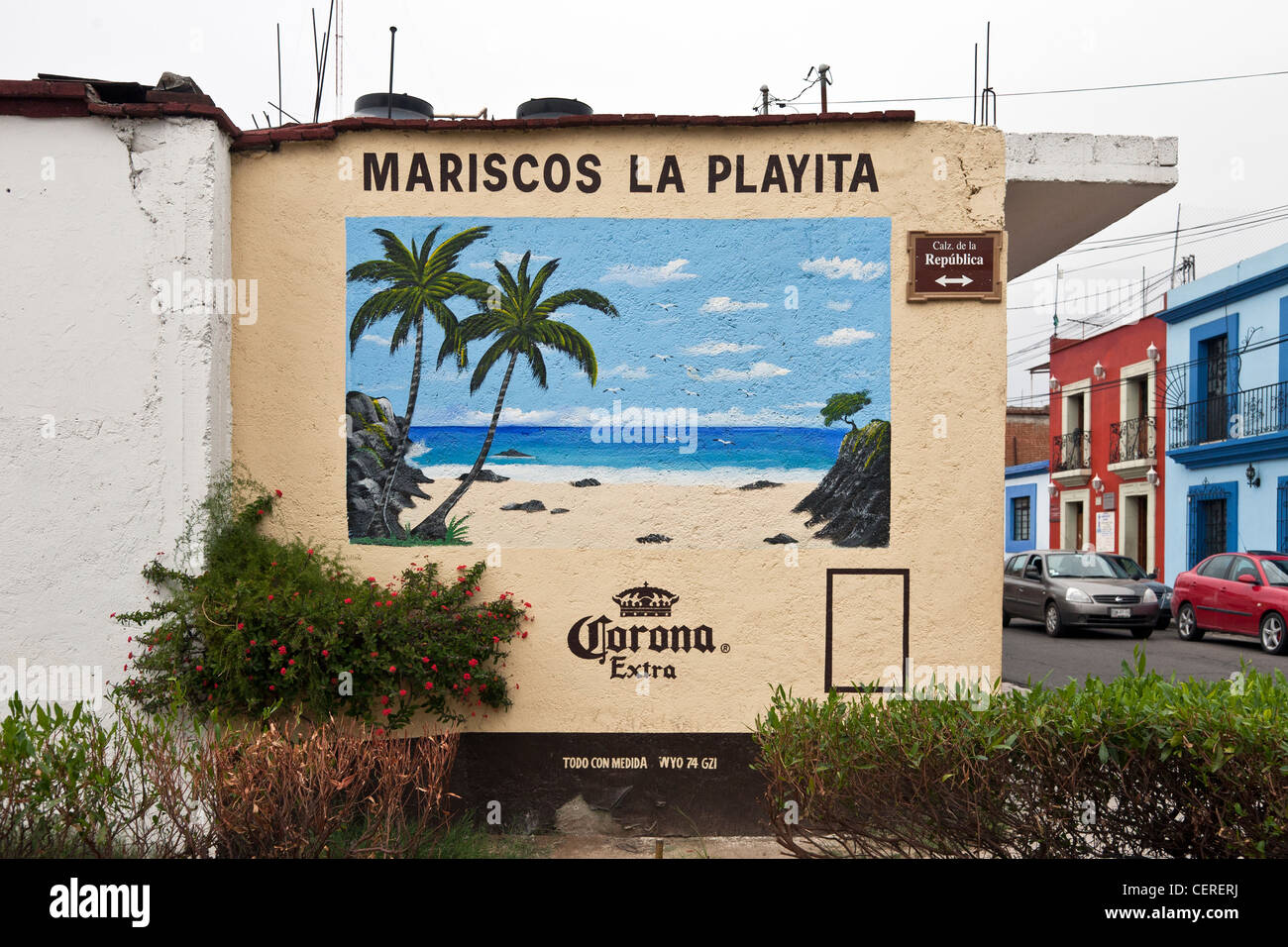 Stock Photo   Beautifully Colored Advertising Mural Of Idyllic Tropical  Beach Hand Painted On Outside Wall Of Seafood Restaurant Oaxaca Mexico