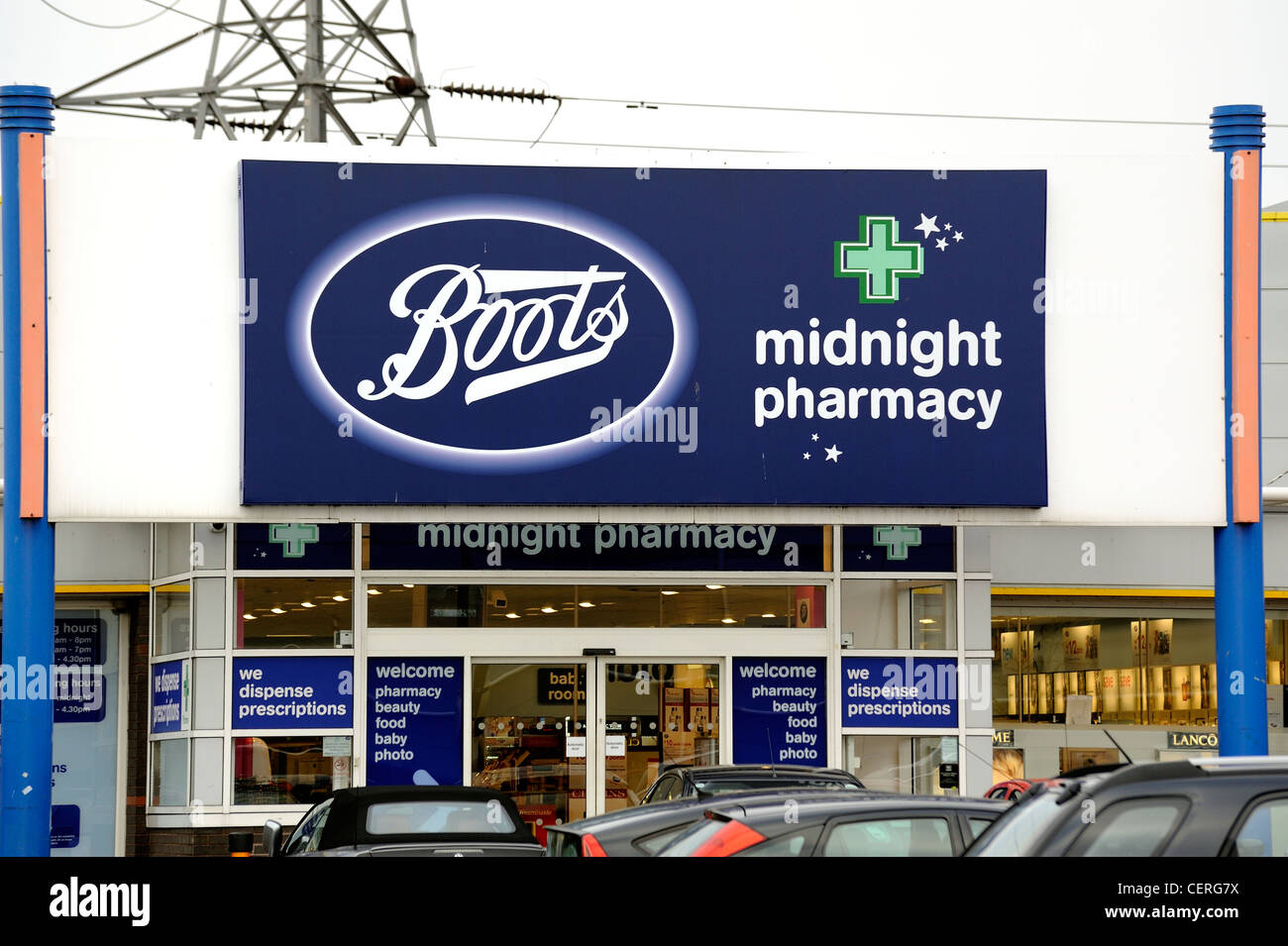 boots midnight pharmacy retail store on a uk retail park stock