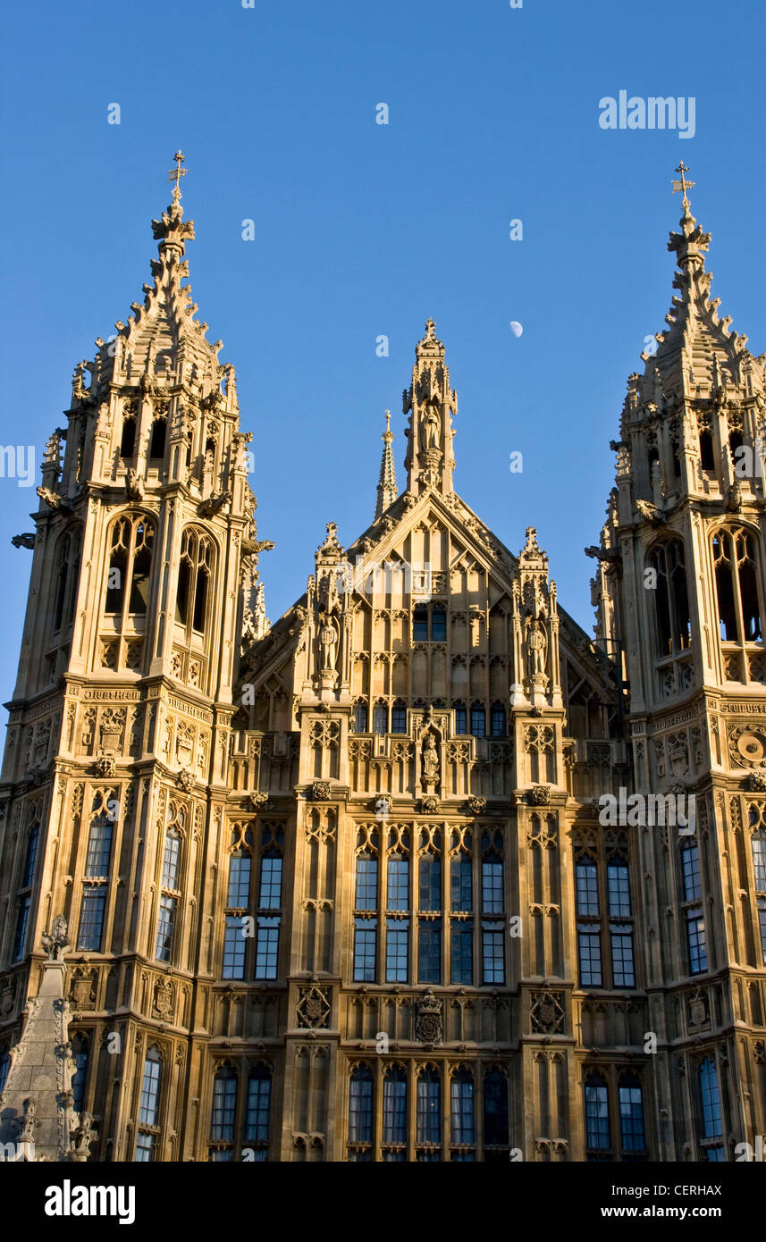 Gothic Revival Architecture Grade 1 Listed Houses Of Parliament Palace Westminster With Daytime Moon London England Europe