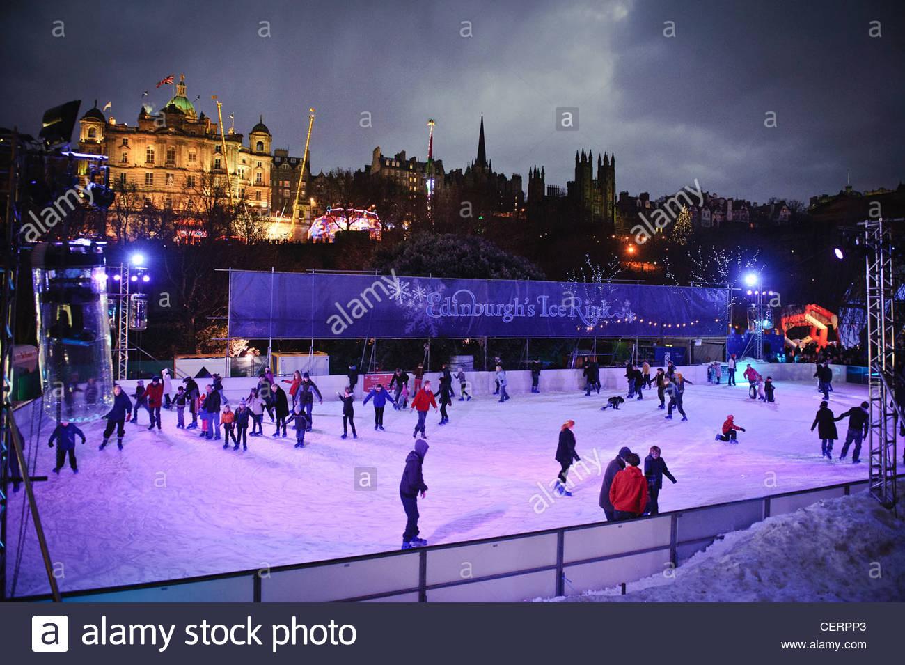 people ice skating in princes street gardens during the edinburgh