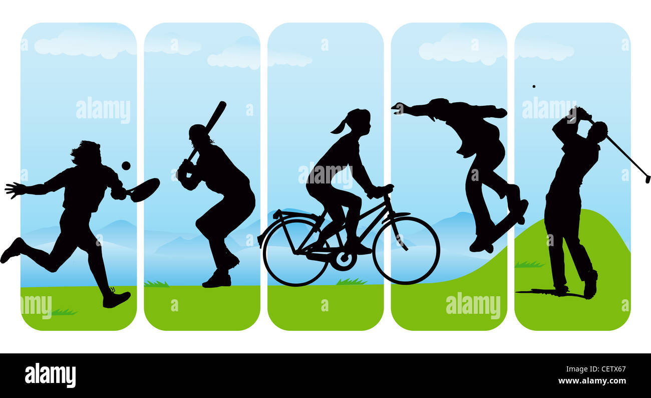 Abstract Sports Background Royalty Free Stock Image: Leisure Sport Silhouettes On Abstract Background Stock