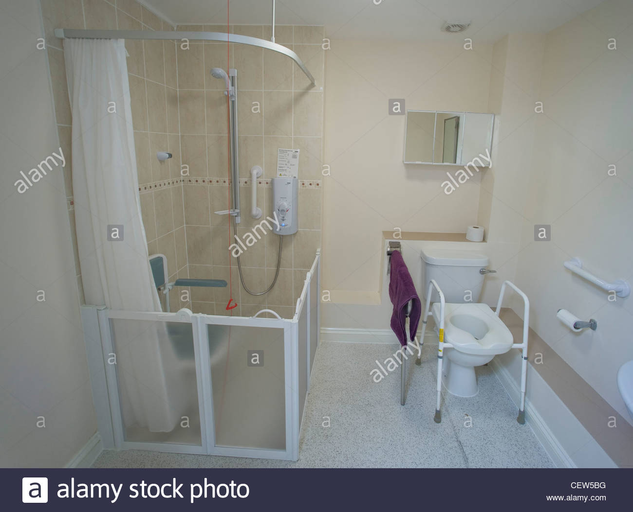 A special adapted shower room for disabled people stock - Disabled shower room ...
