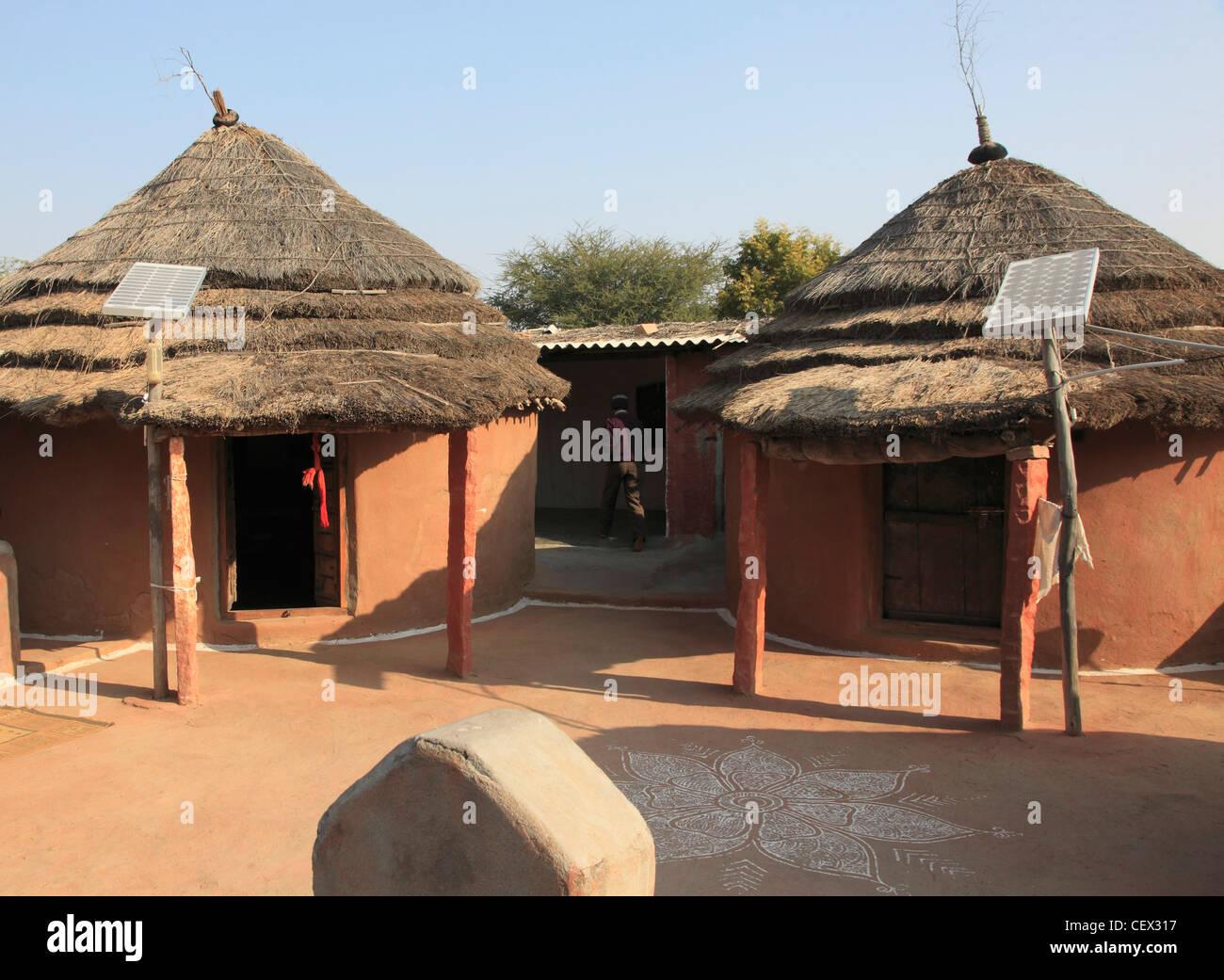 India Rajasthan Jodhpur Rural Houses With Solar Panels
