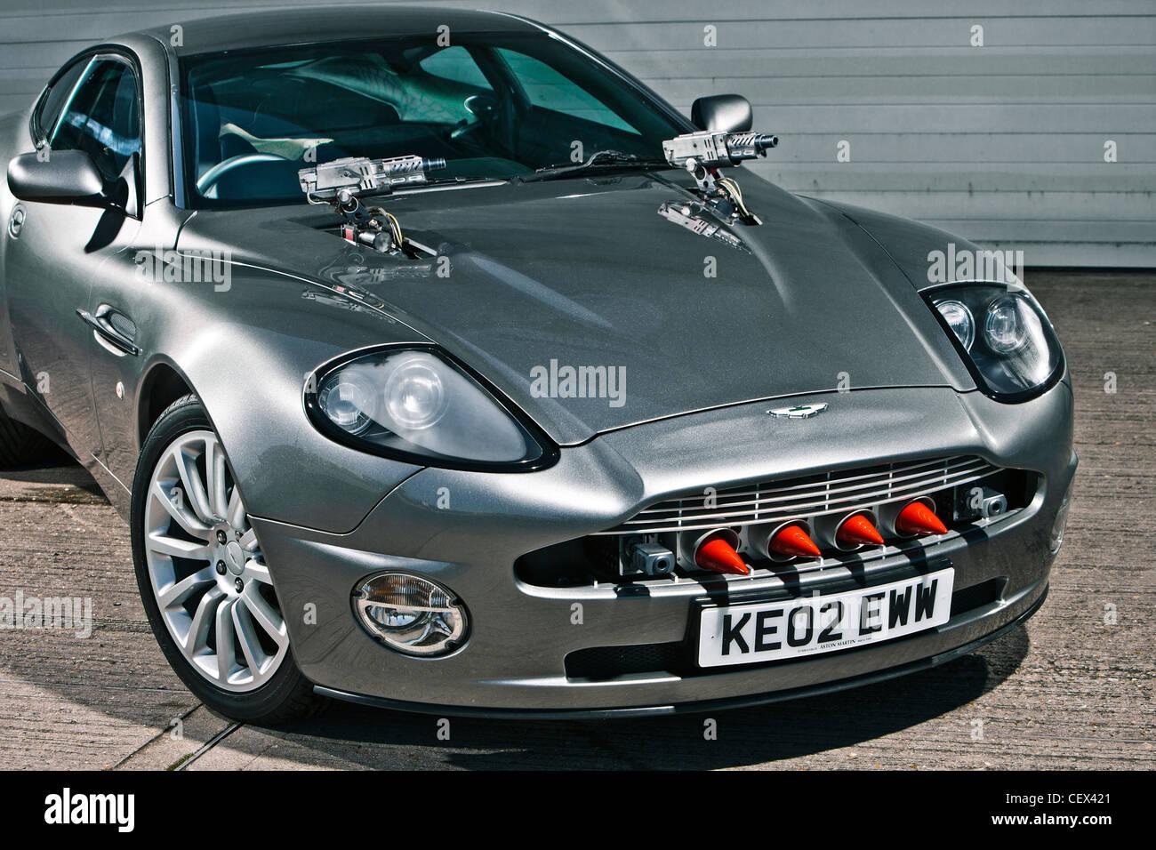 stationary aston martin db5, james bond classic car stock photo