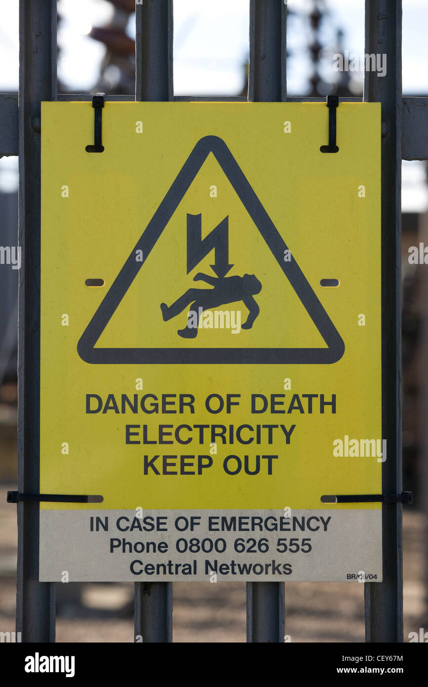danger of death electricity keep out sign stock photo