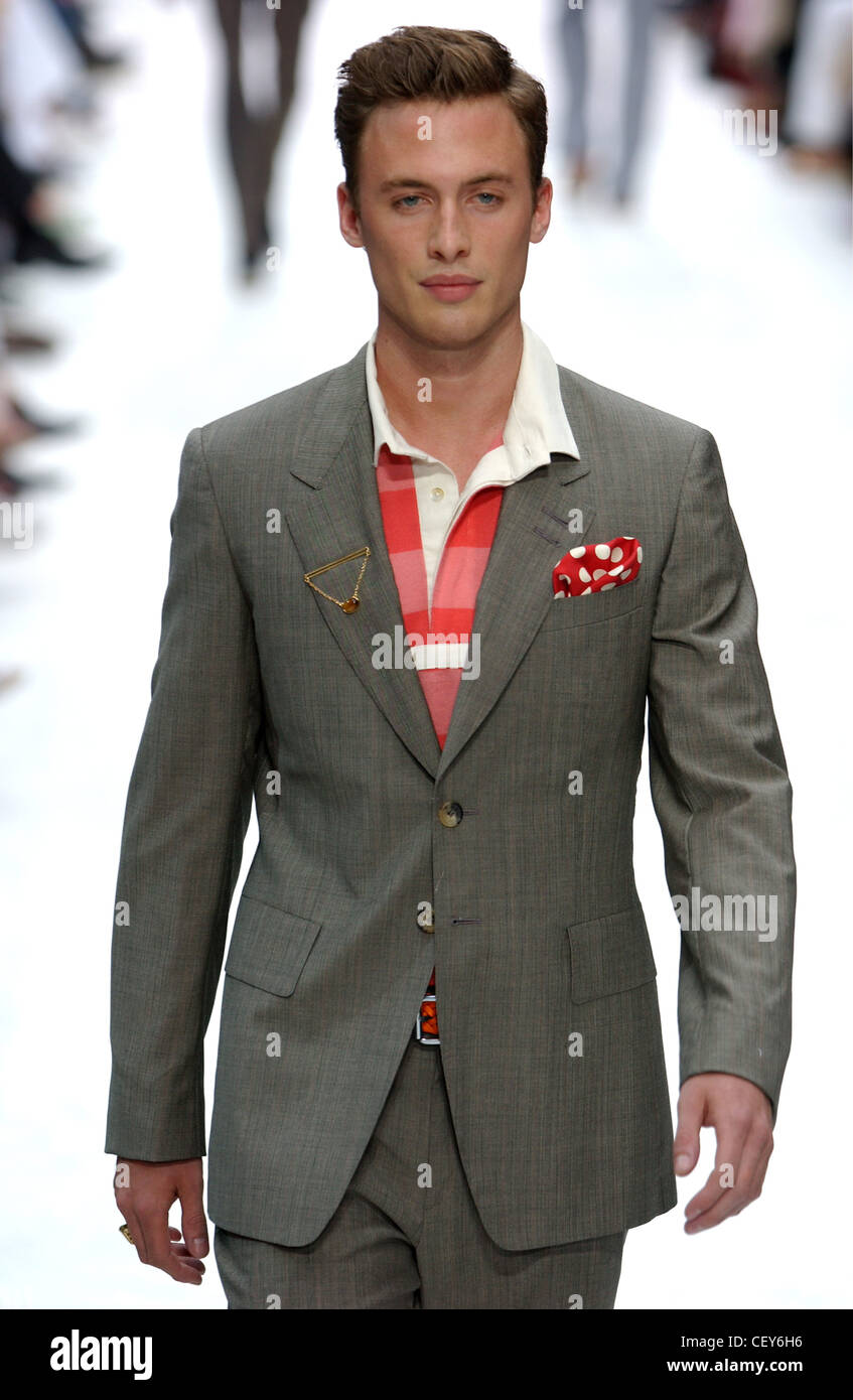 Paul Smith Paris Menswear S S Male Model Wearing Grey Suit And Red ...