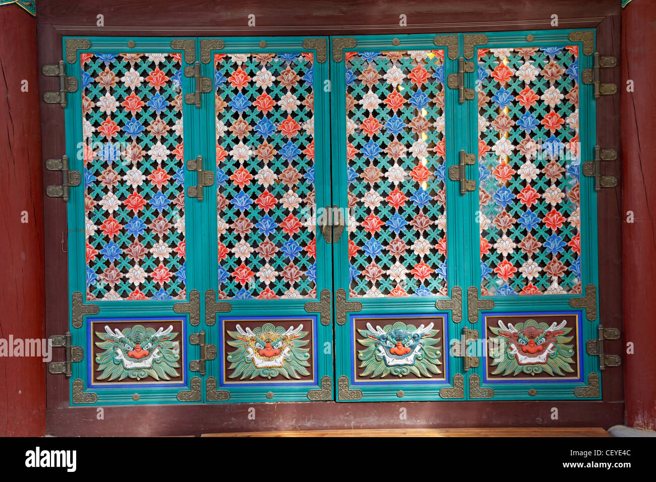 Colourful Floral And Flower Decorations On Screen Doors In Bongeunsa  Buddhist Temple In Seoul, South Korea