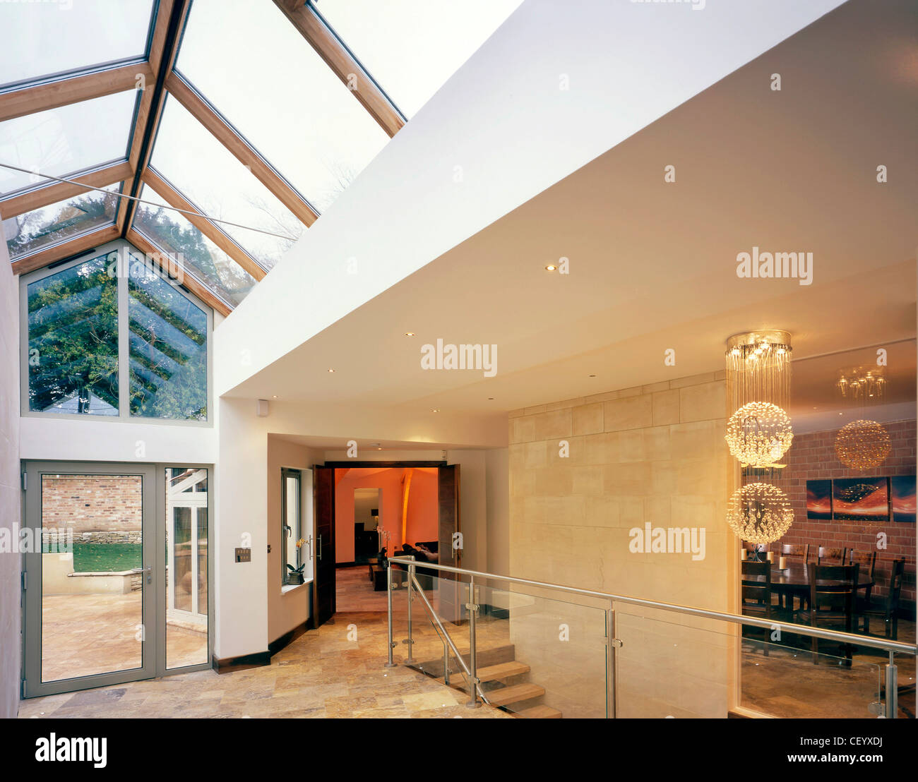 Glass Roof House the interiof decagon house in oxford, uk, showing living room