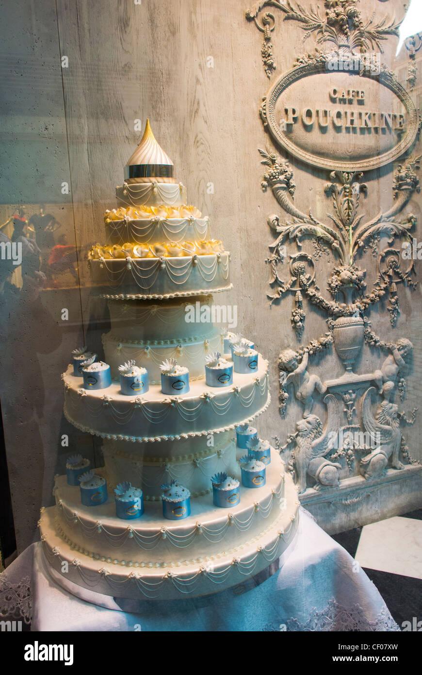 Paris France Shop Front Window Display Wedding Cake At Cafe Pouchkine Printemps Department Store Patisserie