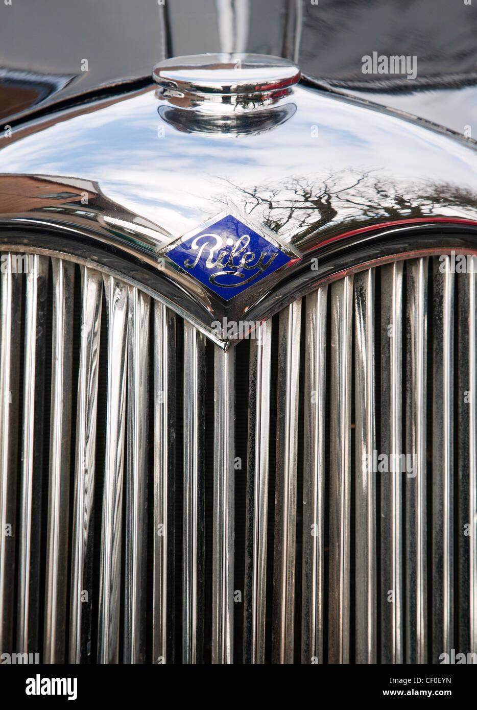 Design of a car radiator - 1950s Vintage Riley Car Radiator Grill Stock Image