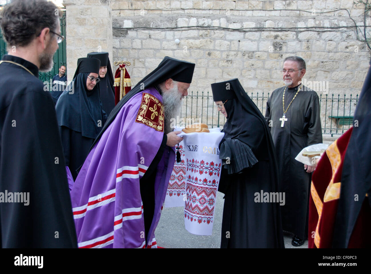 Traditional greeting of the bishop in the russian monastery of stock traditional greeting of the bishop in the russian monastery of ascension on the mount of olives in jerusalem israel m4hsunfo Image collections