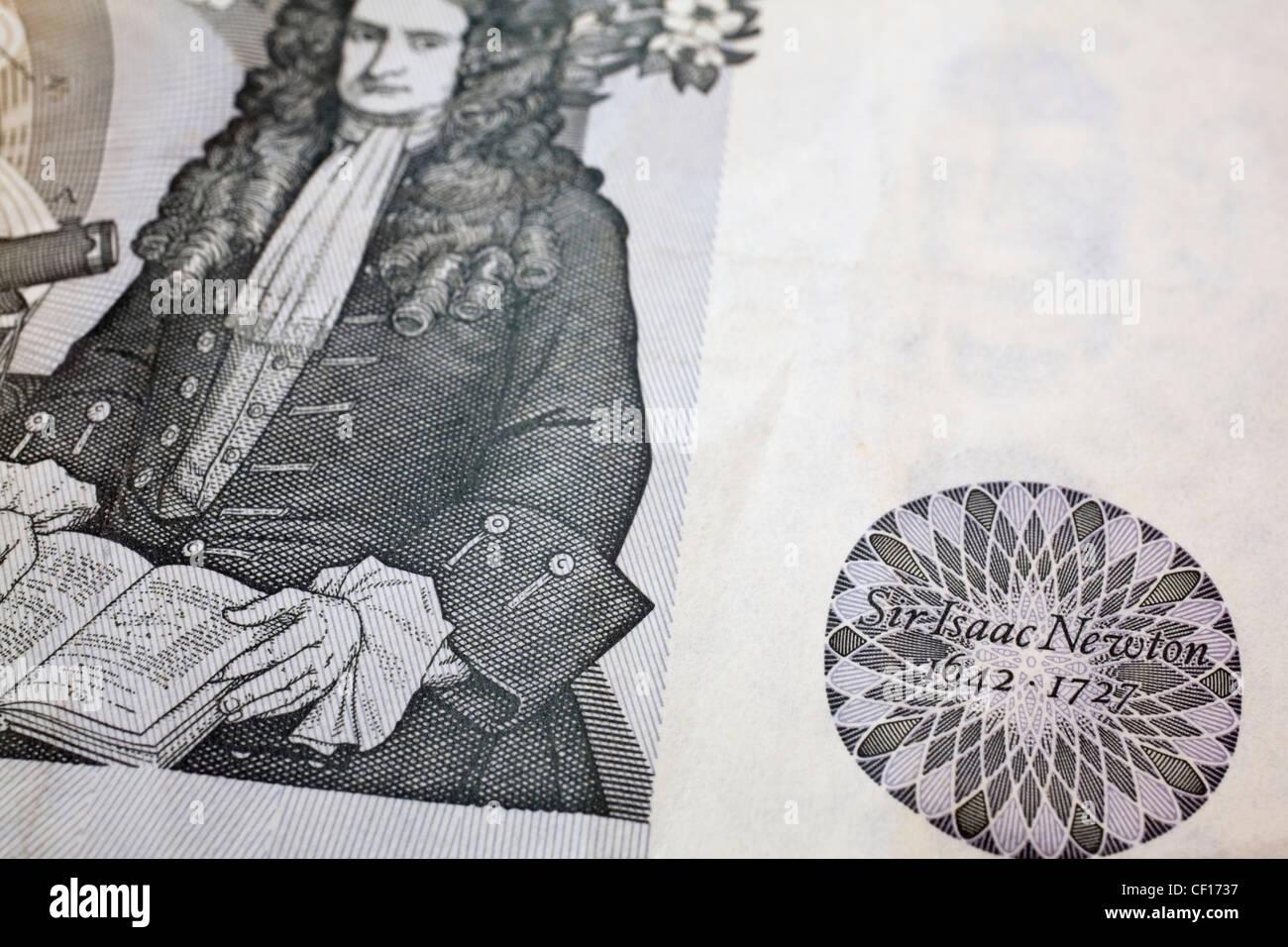 Sir Isaac Newton Depicted British Pound Bank Note Stock Photo
