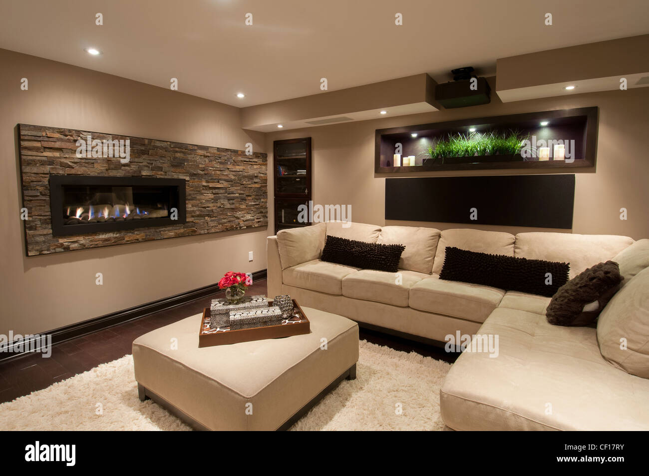 Basement In Luxury Residential Home With Sofa And Gas