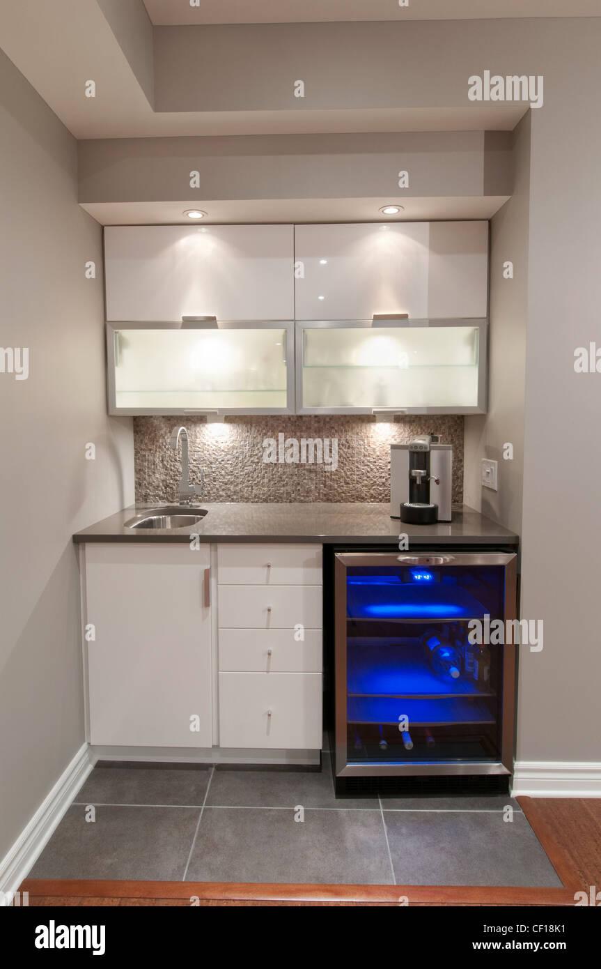 Mini Bar And Fridge In Luxury Residential Basement Stock