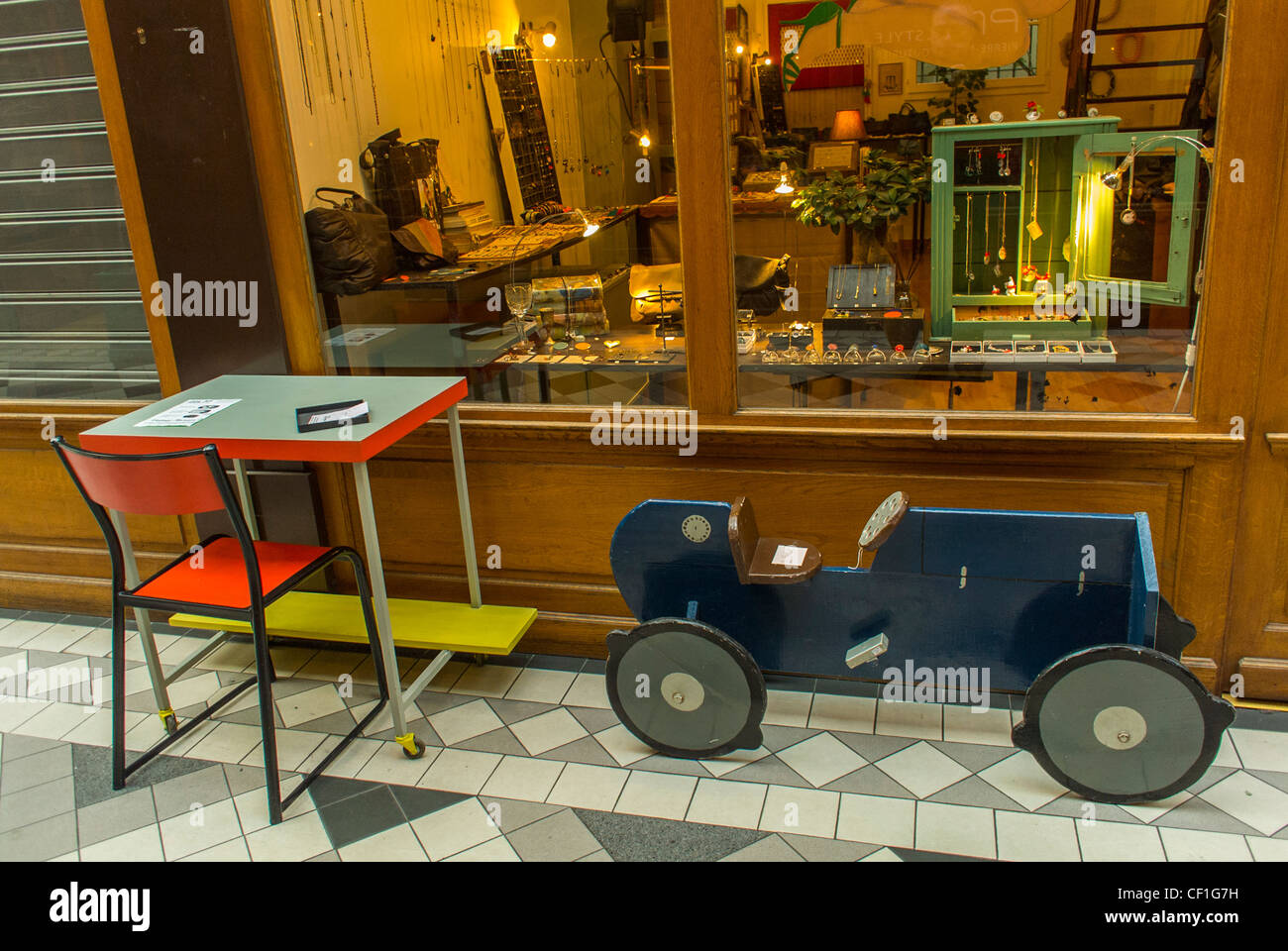 Paris France Vintage Antiques Toys And Furniture Shop Front Window Shopping In