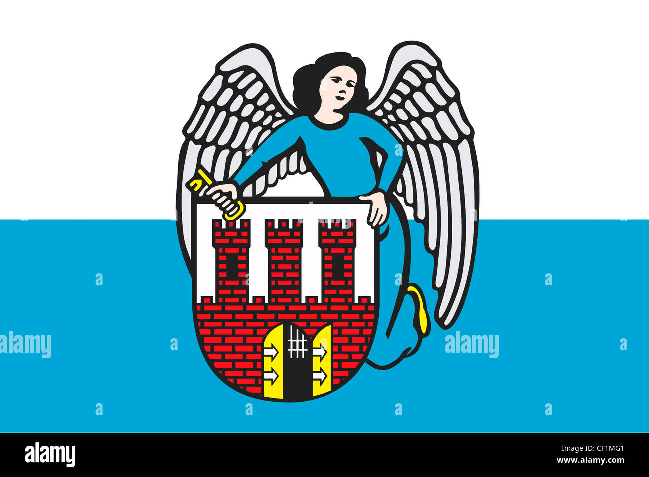 city flag with coat of arms of the polish city torun stock photo