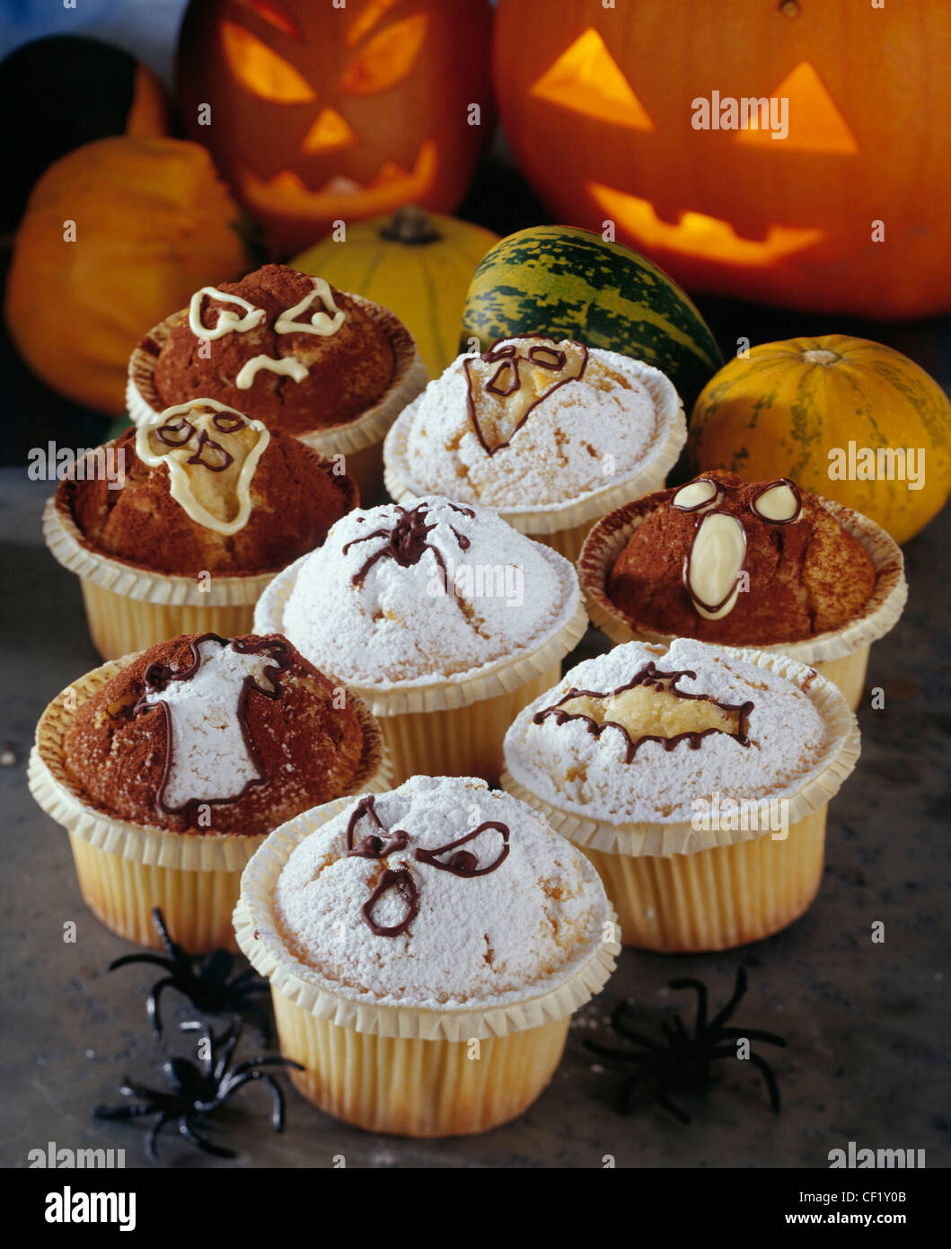 halloween group of halloween muffins decorated spiders bats ghosts stock photo royalty free. Black Bedroom Furniture Sets. Home Design Ideas
