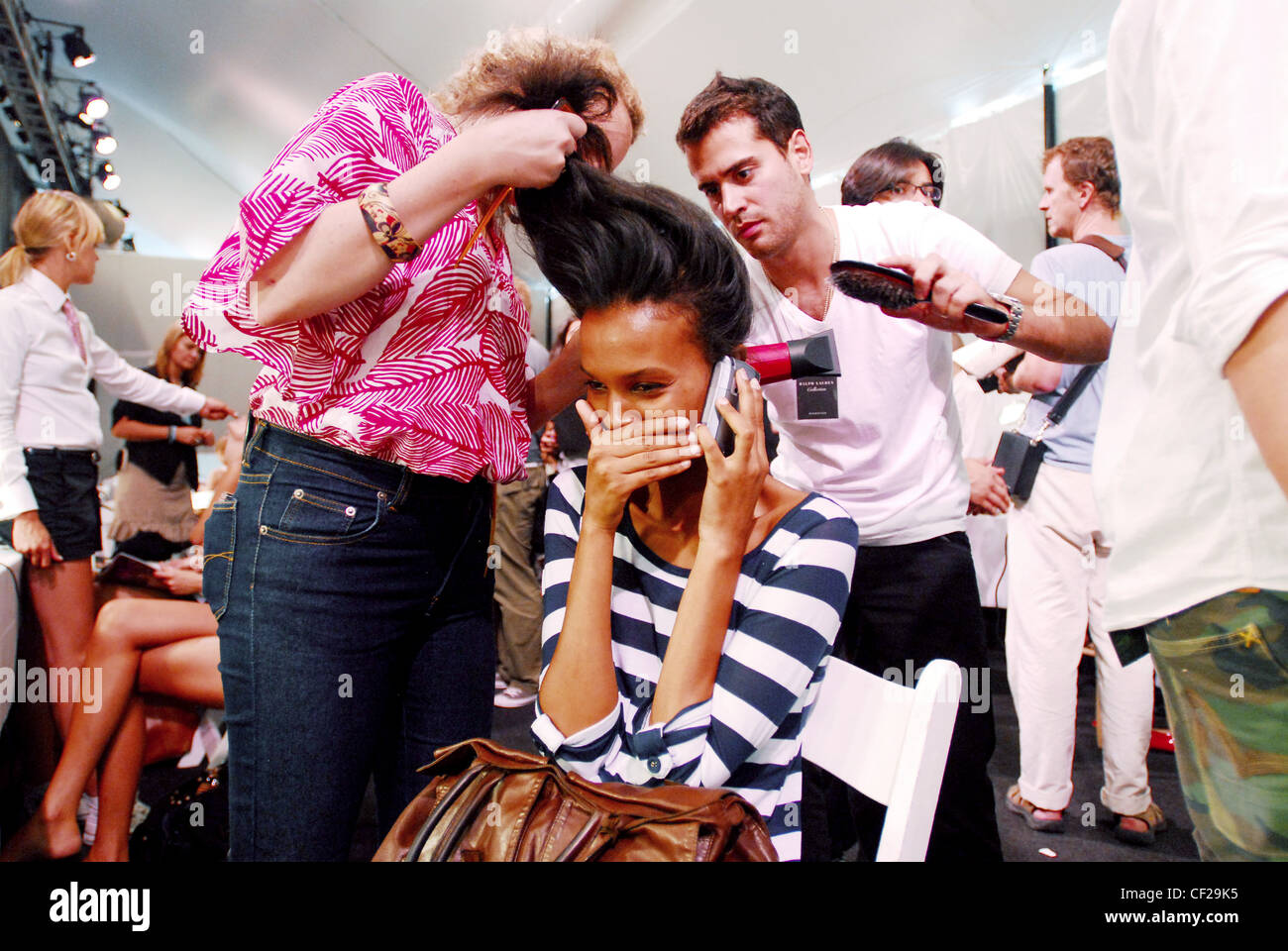 Ralph Lauren Backstage New York Model Liya Kebede Being Attended To By Two  Hairdressers Ralph Lauren How