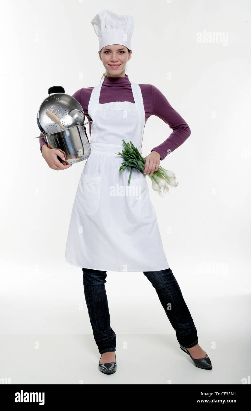 White apron and hat - Female Wearing White Cooks Hat White Apron Purple Top Jeans And Patent Flat