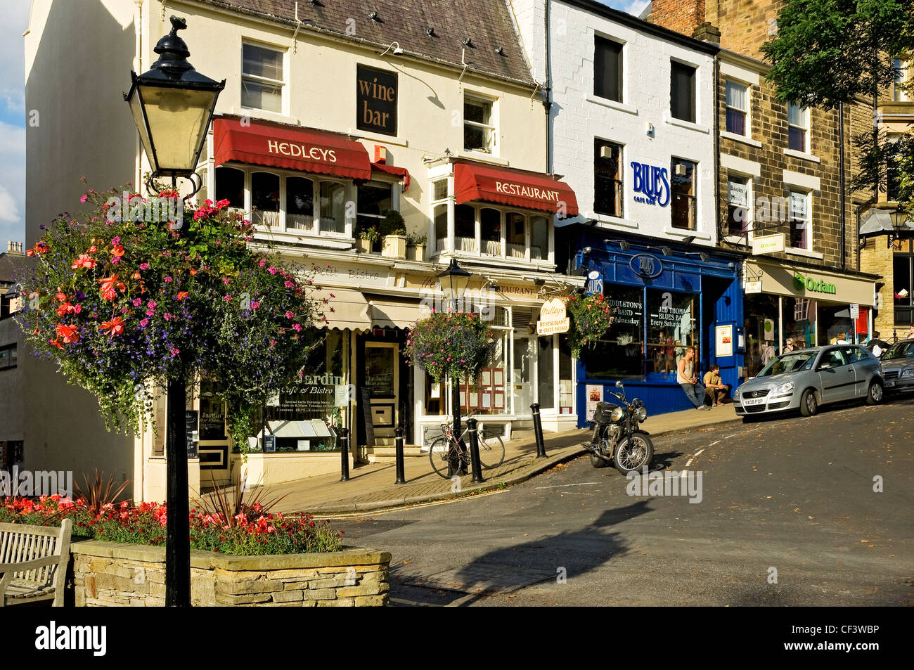 lamp post with hanging flower basket on montpellier parade stock photo royalty free image. Black Bedroom Furniture Sets. Home Design Ideas