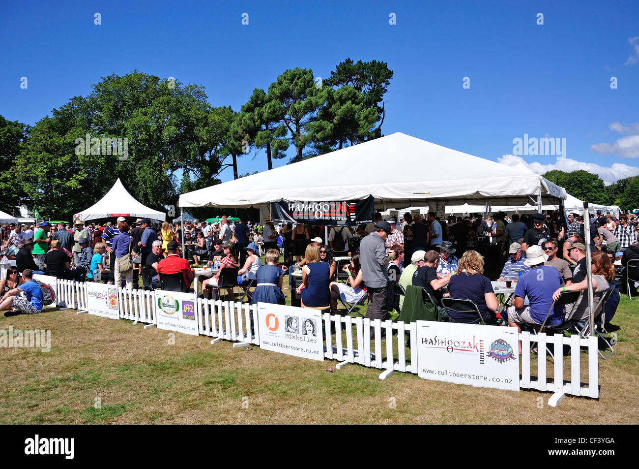 Beer tents at The Great Kiwi Beer Festival Hagley Park Christchurch Canterbury District New Zealand & Beer tents at The Great Kiwi Beer Festival Hagley Park Stock ...