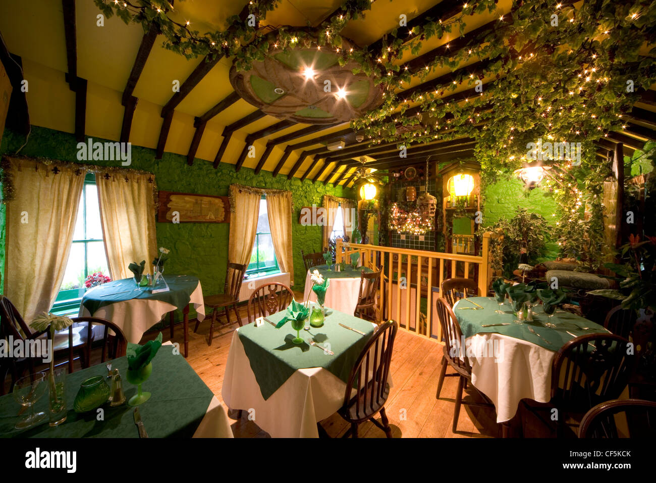 internal view of the traditional welsh restaurant bwyty ogof y