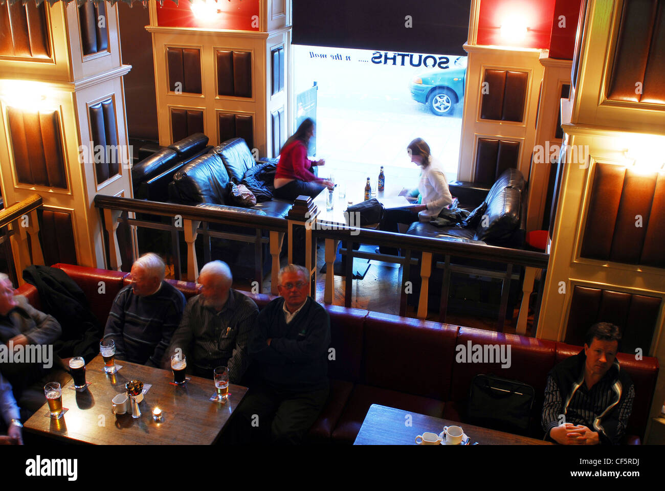 interior view of the busy cafe at the imperial hotel in cork stock