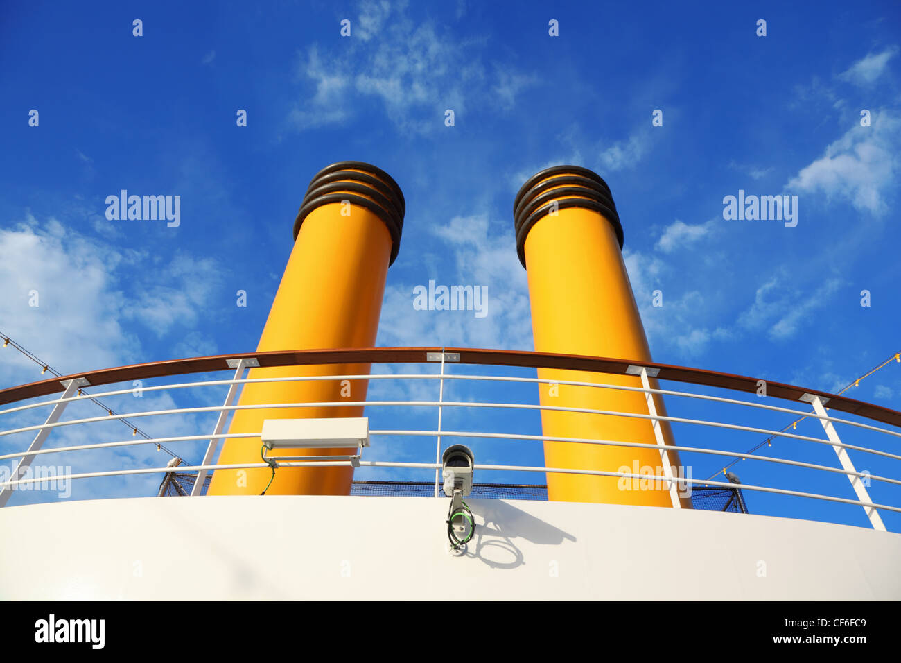 Two Yellow Pipes On Big Cruise Ship Camera And Wires Lamps Stock - Cruise ship cam
