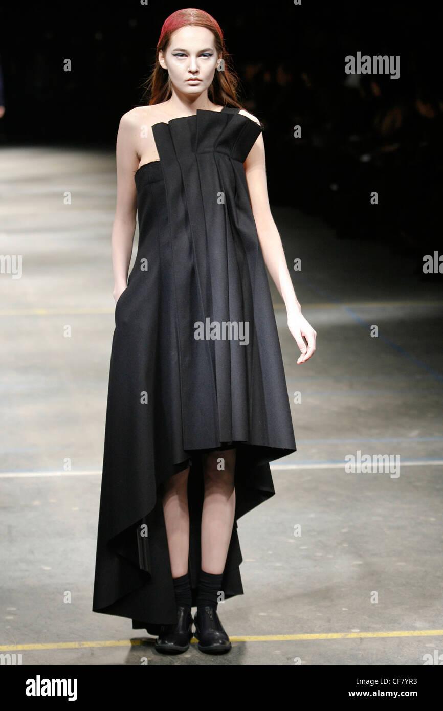 Black strapless dress in winter