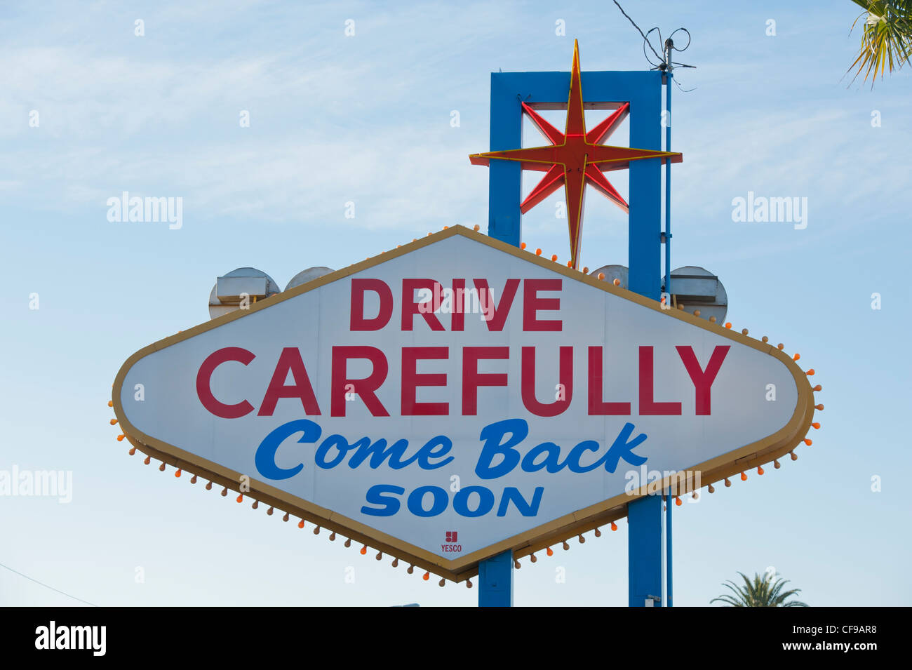 Stock footage welcome to fabulous las vegas sign with flashing lights - The Reverse Of The Welcome To Fabulous Las Vegas Sign Drive Safely And Come Back