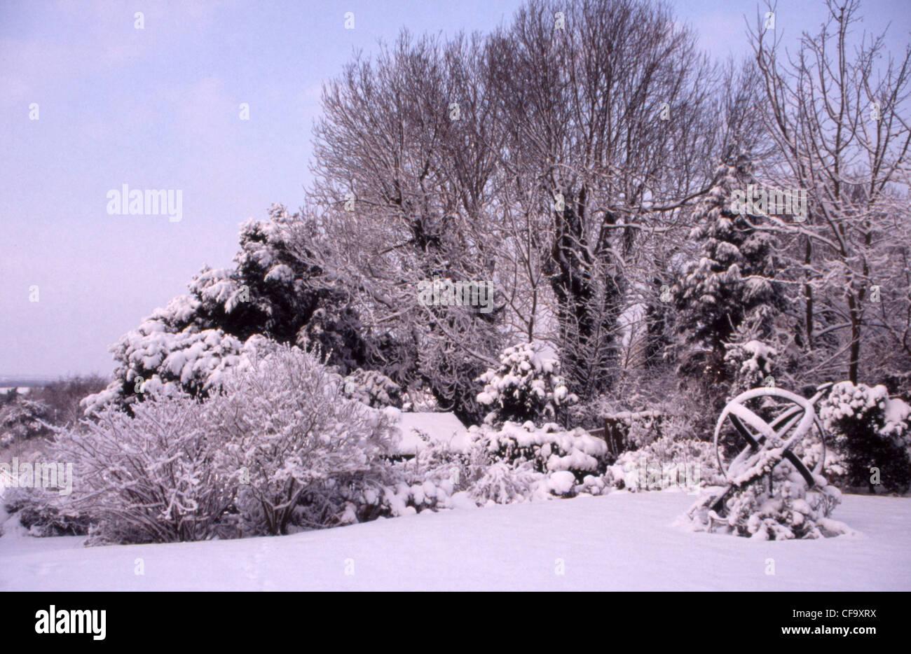 winter garden british garden in allendale kent uk overlooking