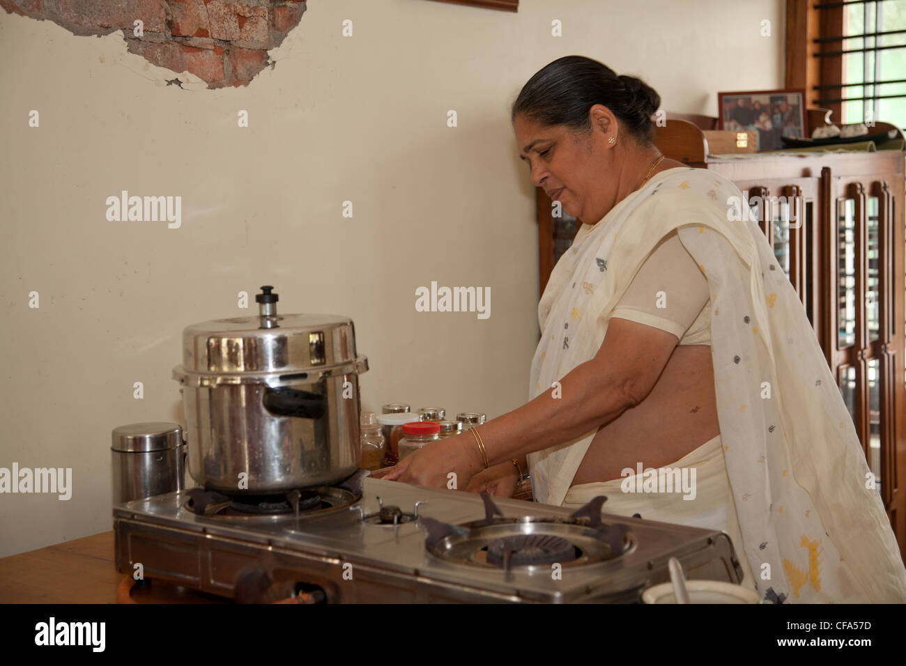 preparation of traditional indian cuisine stock photo, royalty