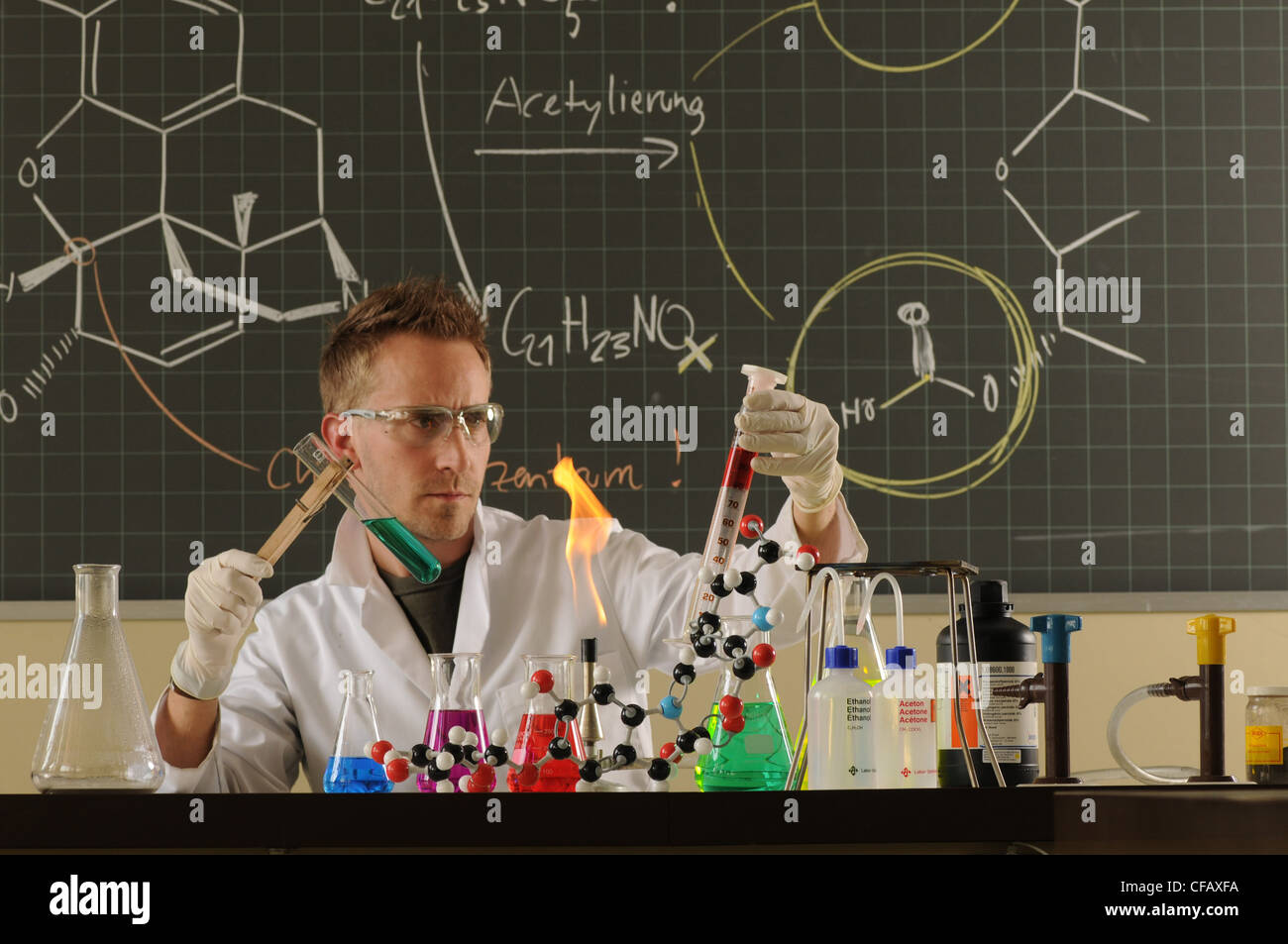 Man, research, teacher, chemistry, lab, formulae, experiment Stock ...