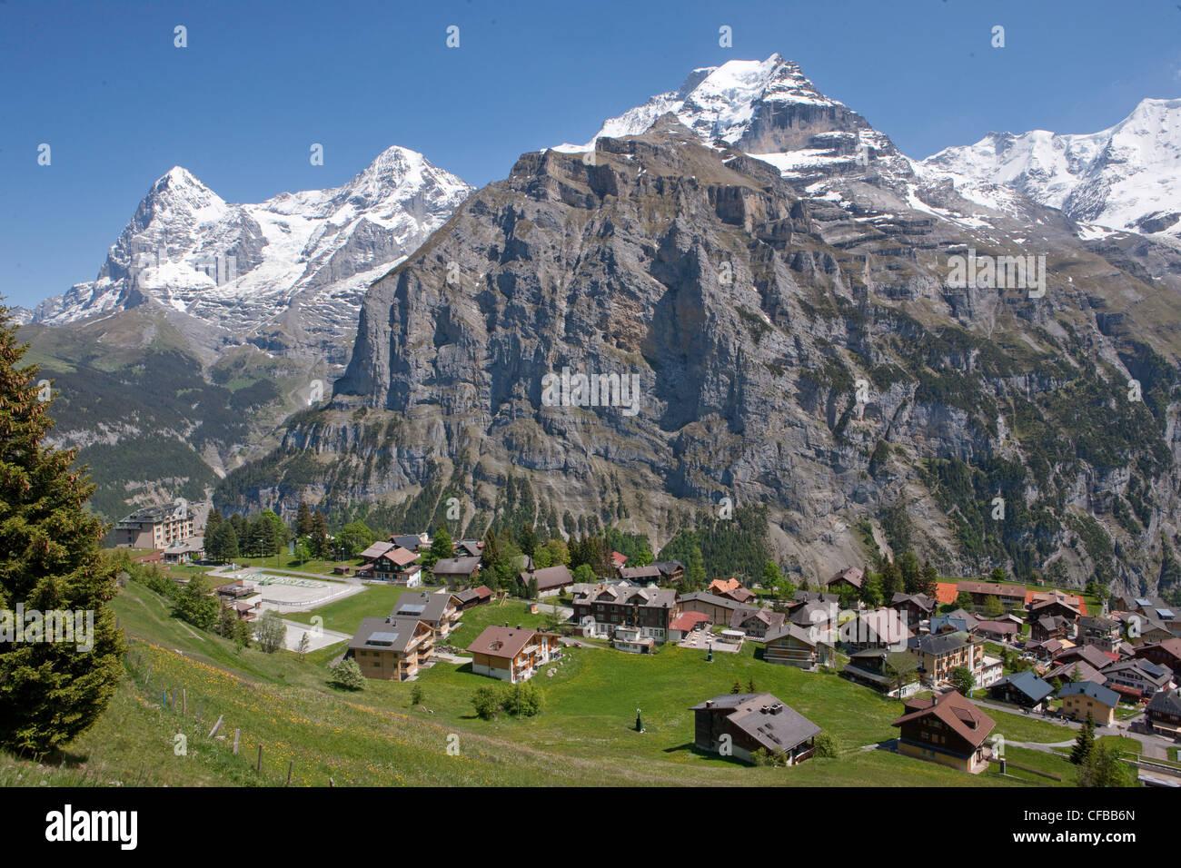 Mountain, mountains, village, canton Bern, Bernese Alps ... Bernese Alps, Switzerland