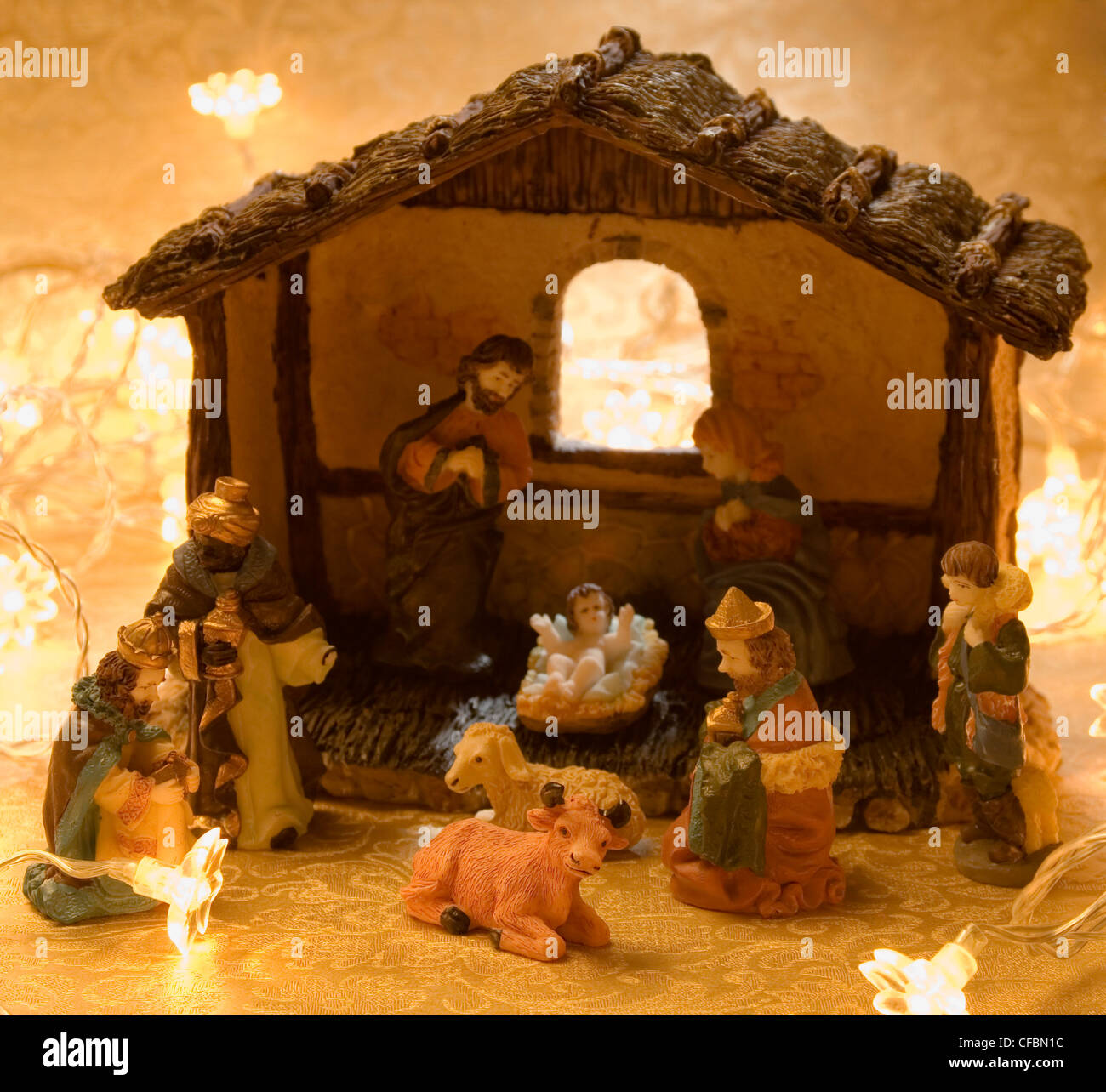 nativity scene christmas decoration barn and figurines of baby