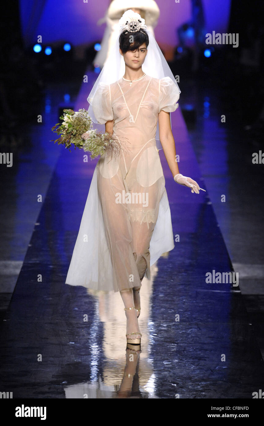 Jean Paul Gaultier Ready To Wear Spring Summer Alternative Bridal Dress Nipples Revealing Wedding Bouquet And Long Veil