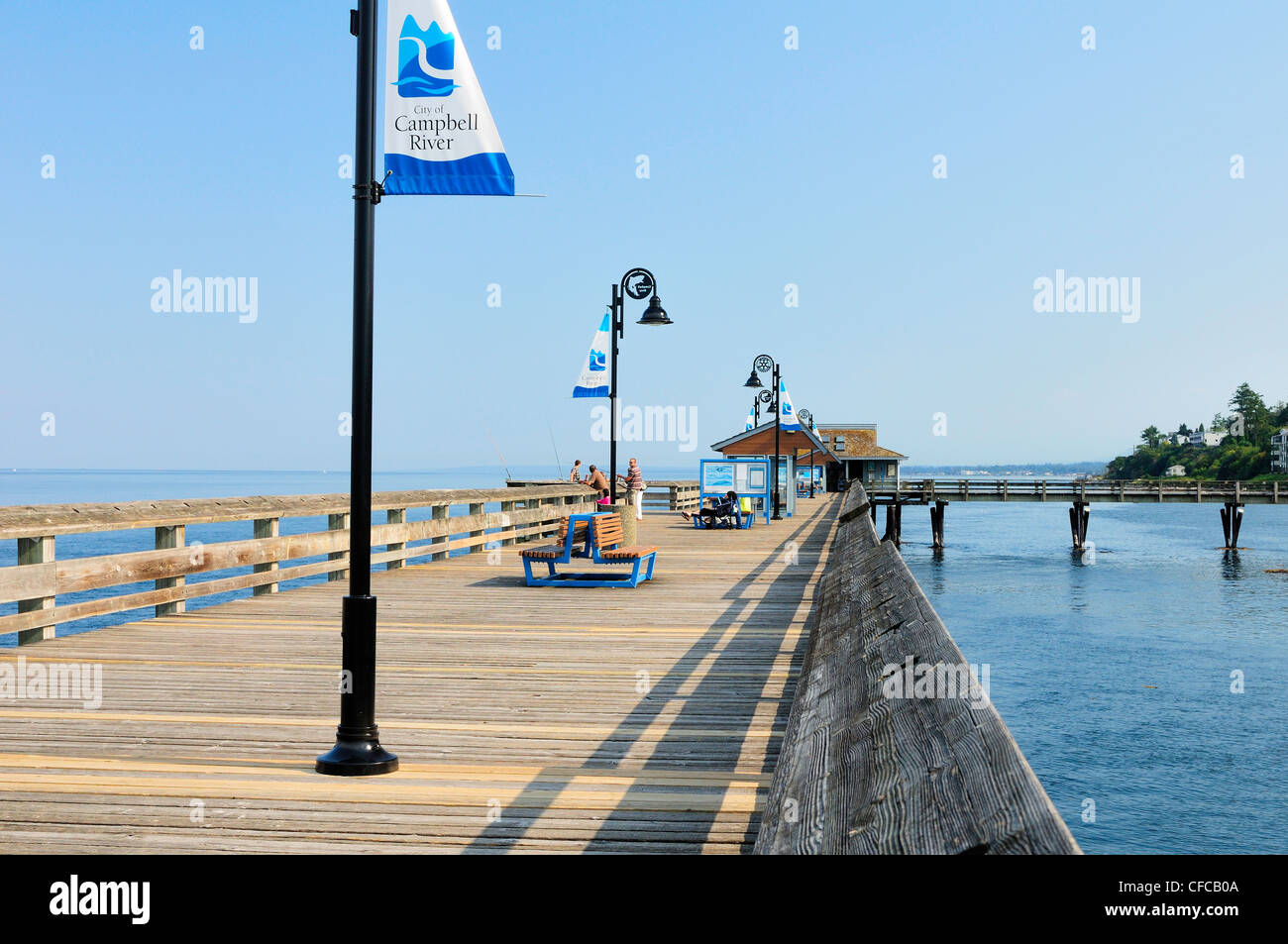 Fishing On Pier In Campbell River, British Columbia, Canada