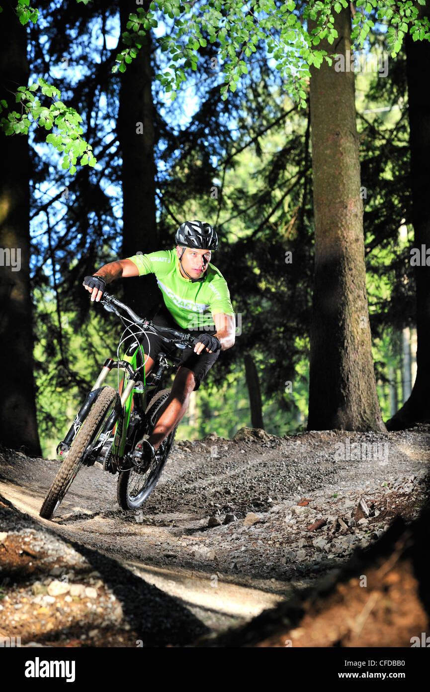 Mountain Biker Passing A Curve In A Bike Park Samerberg Upper