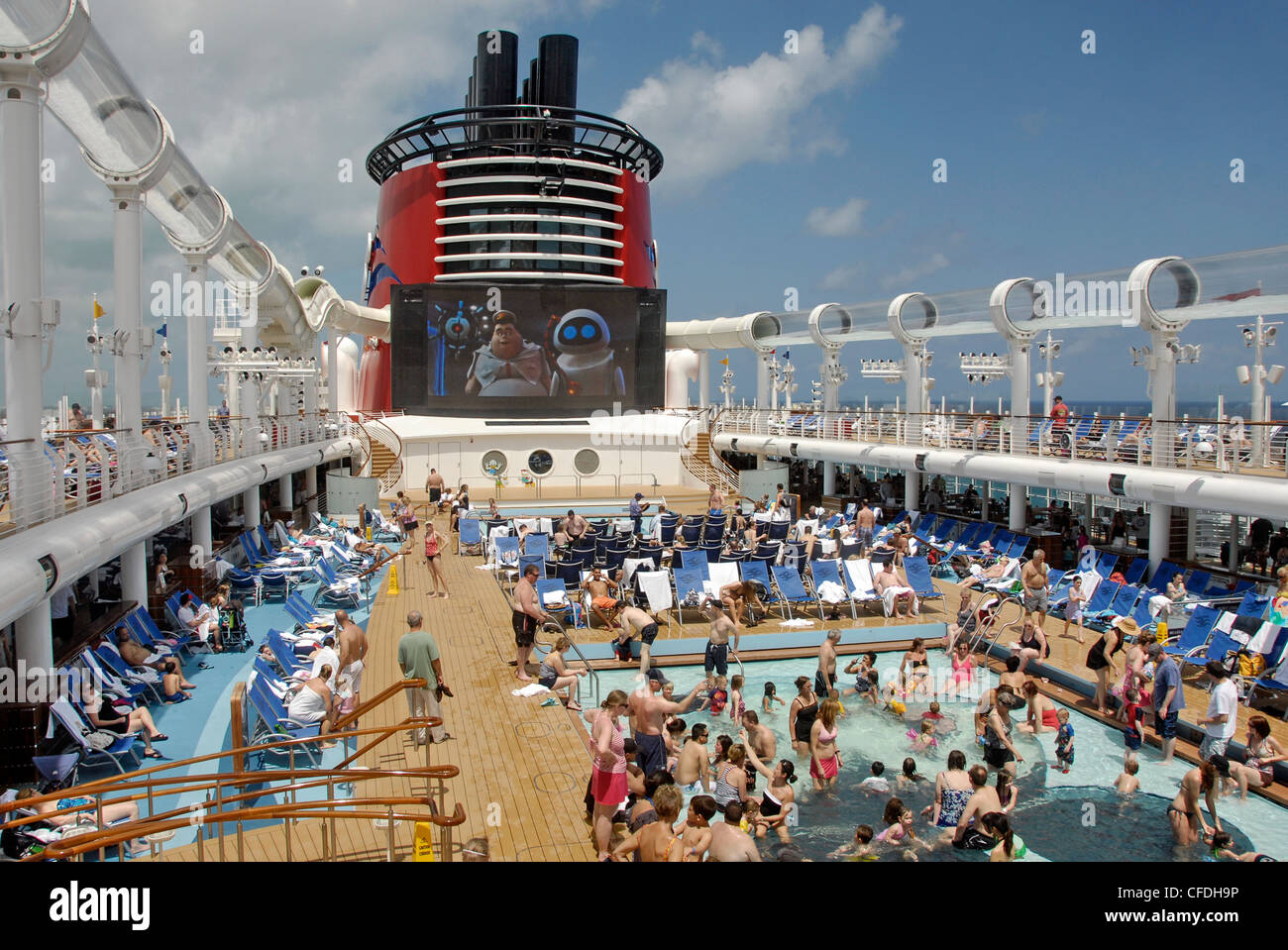 Swimming Pools And Outdoor Theater On The Disney Cruise