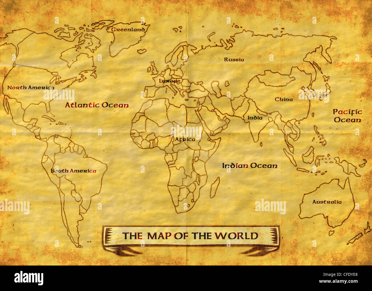 illustration drawing of a map of the world showing the continents