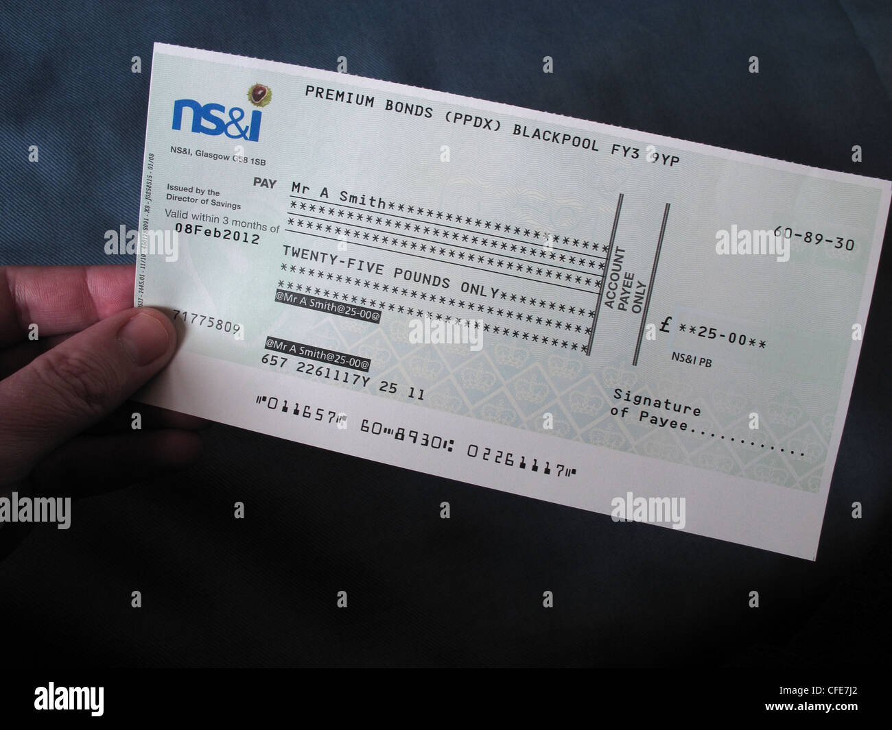 Ns i premium bond cheque held in a hand of the lucky - Buying premium bonds from post office ...