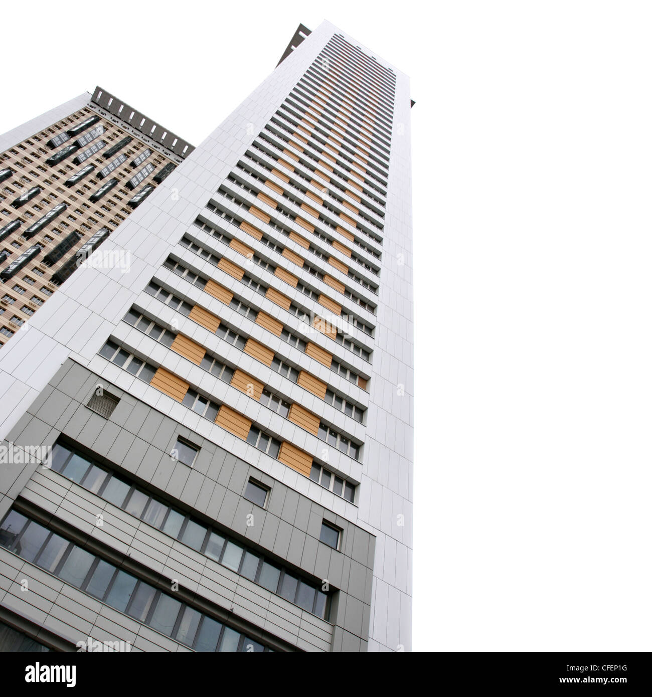Flat Apartment Definition: Apartment Buildings Isolated Over White Background Stock