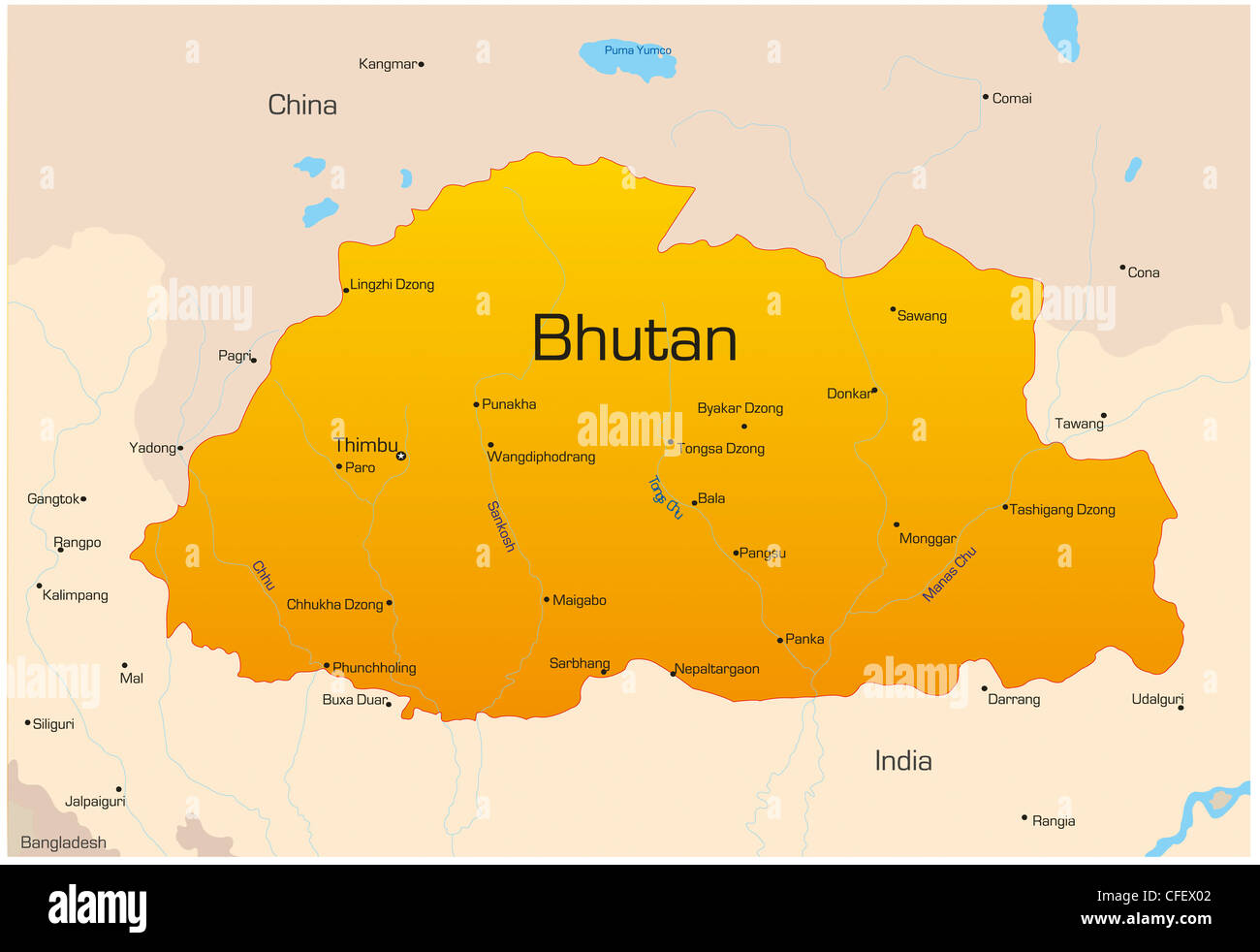 vector map of bhutan country stock photo royalty free image  - vector map of bhutan country
