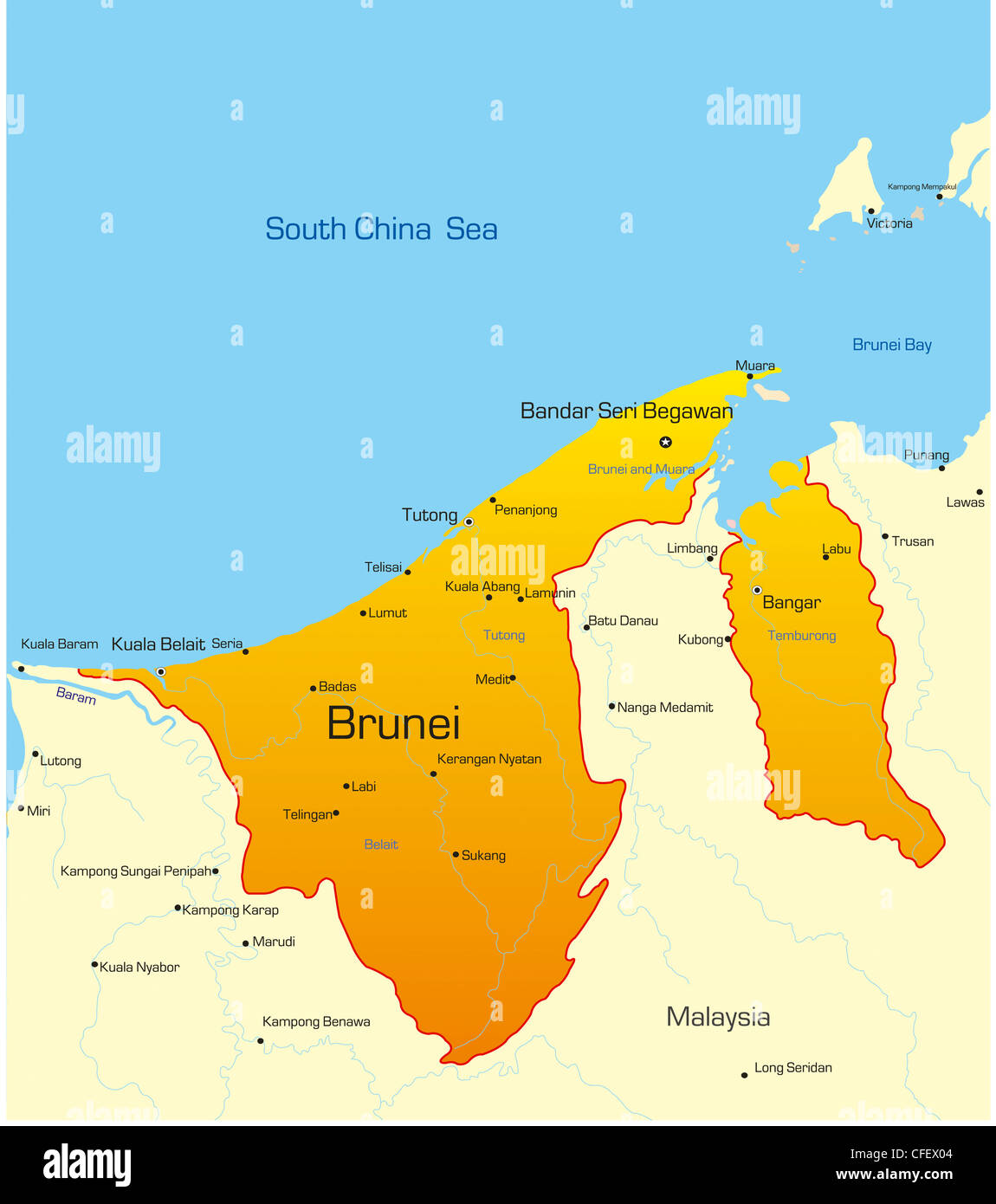 Vector Map Of Brunei Country Stock Photo Royalty Free Image - Brunei map